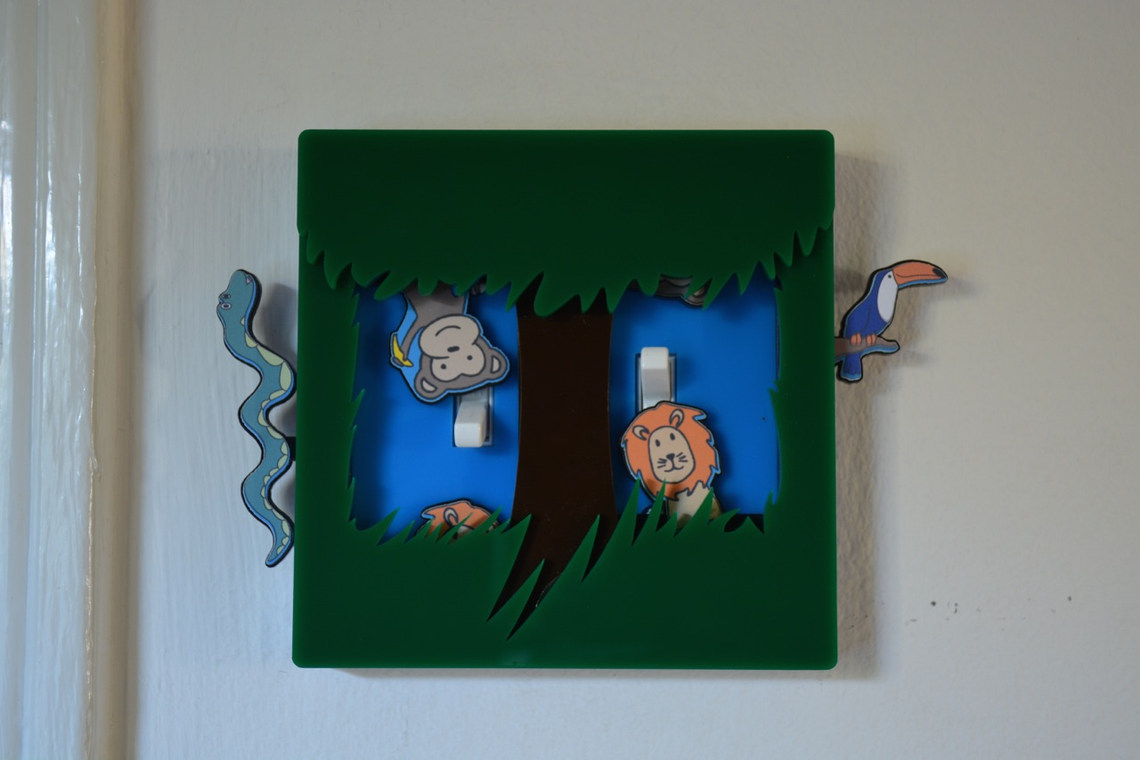 Jungle light switch cover by Robby Cuthbert two switches