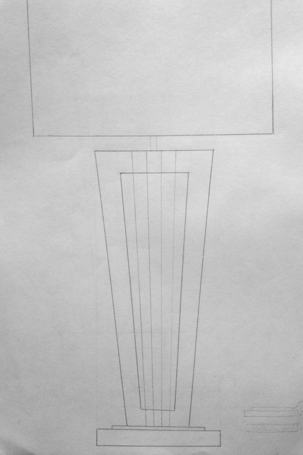 First concept sketch for Balance Table Lamp. The original design called for a large opening in the lamp's neck.