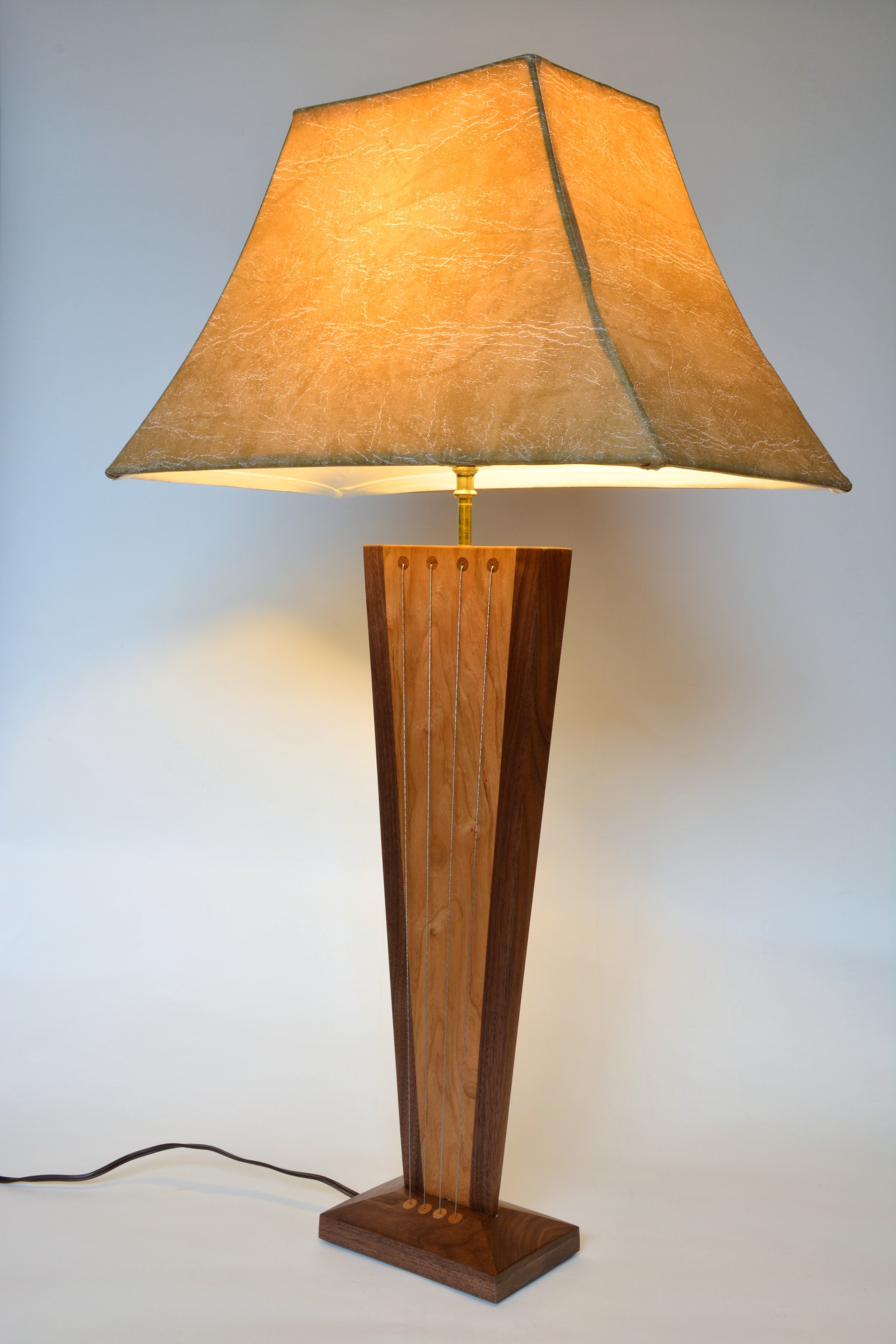 Balance Table Lamp by Robby Cuthbert - walnut and cherry modern lamp