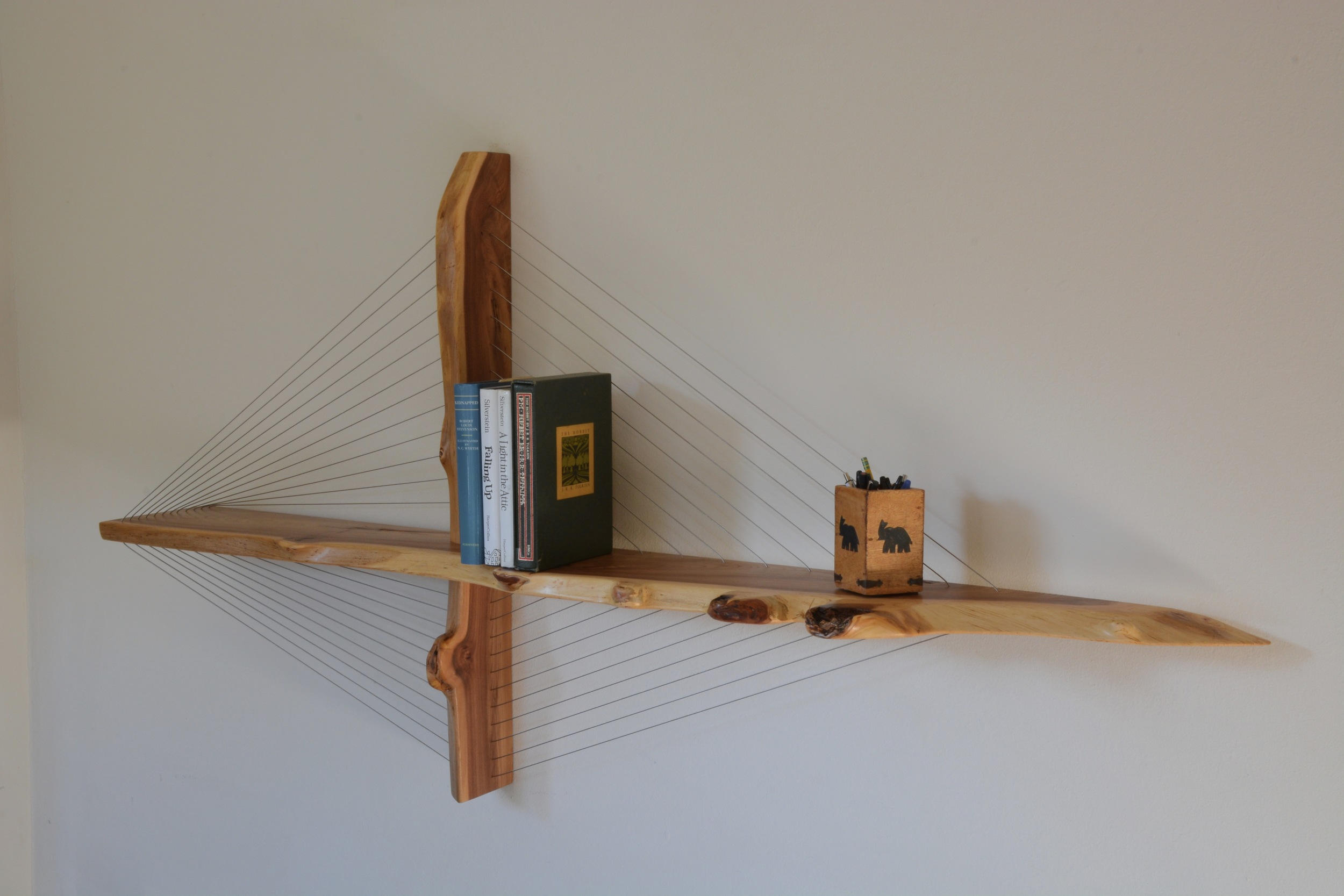 live edge elm suspension shelf by robby cuthbert
