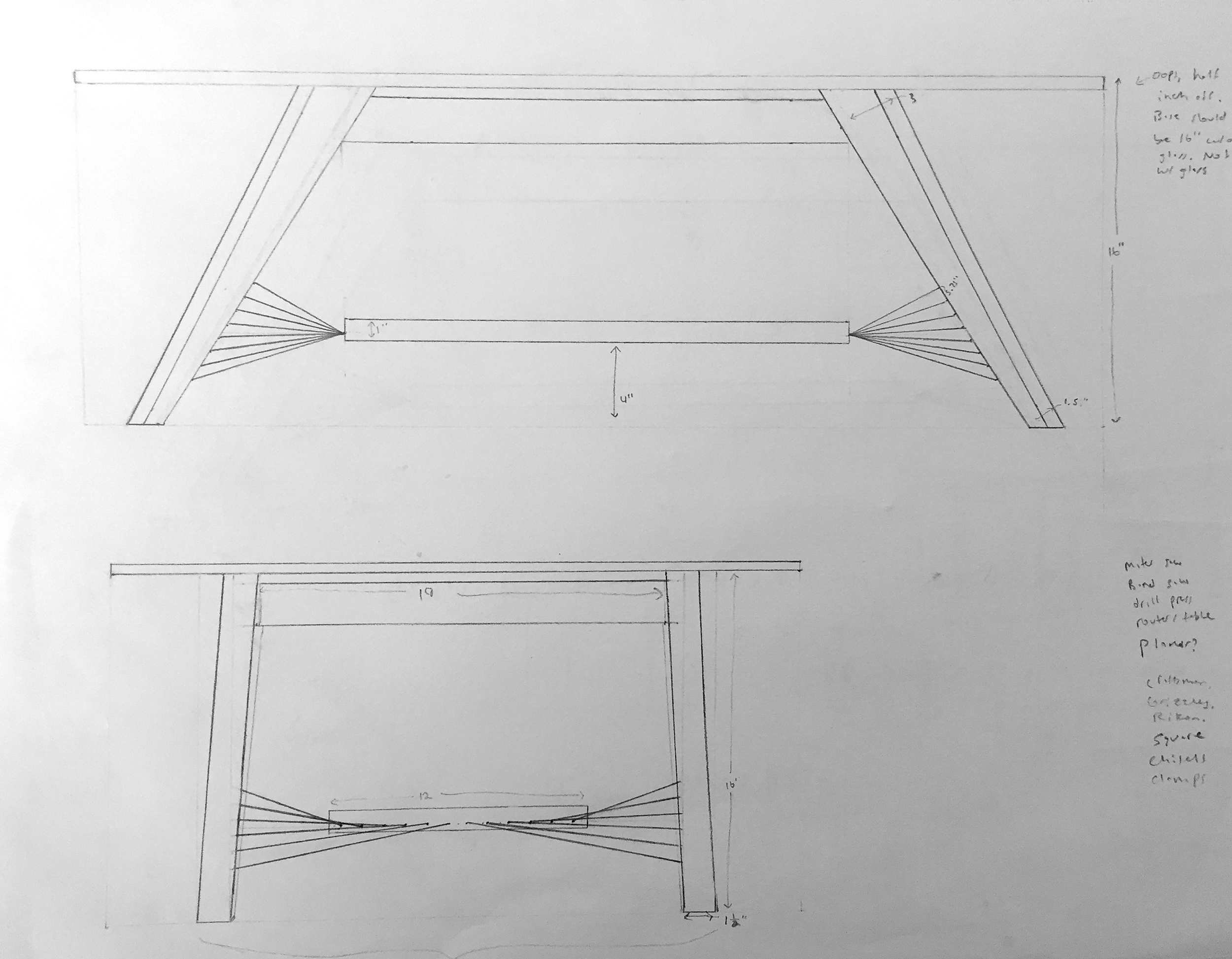 Preliminary Sketch for the X-Weave Coffee Table.