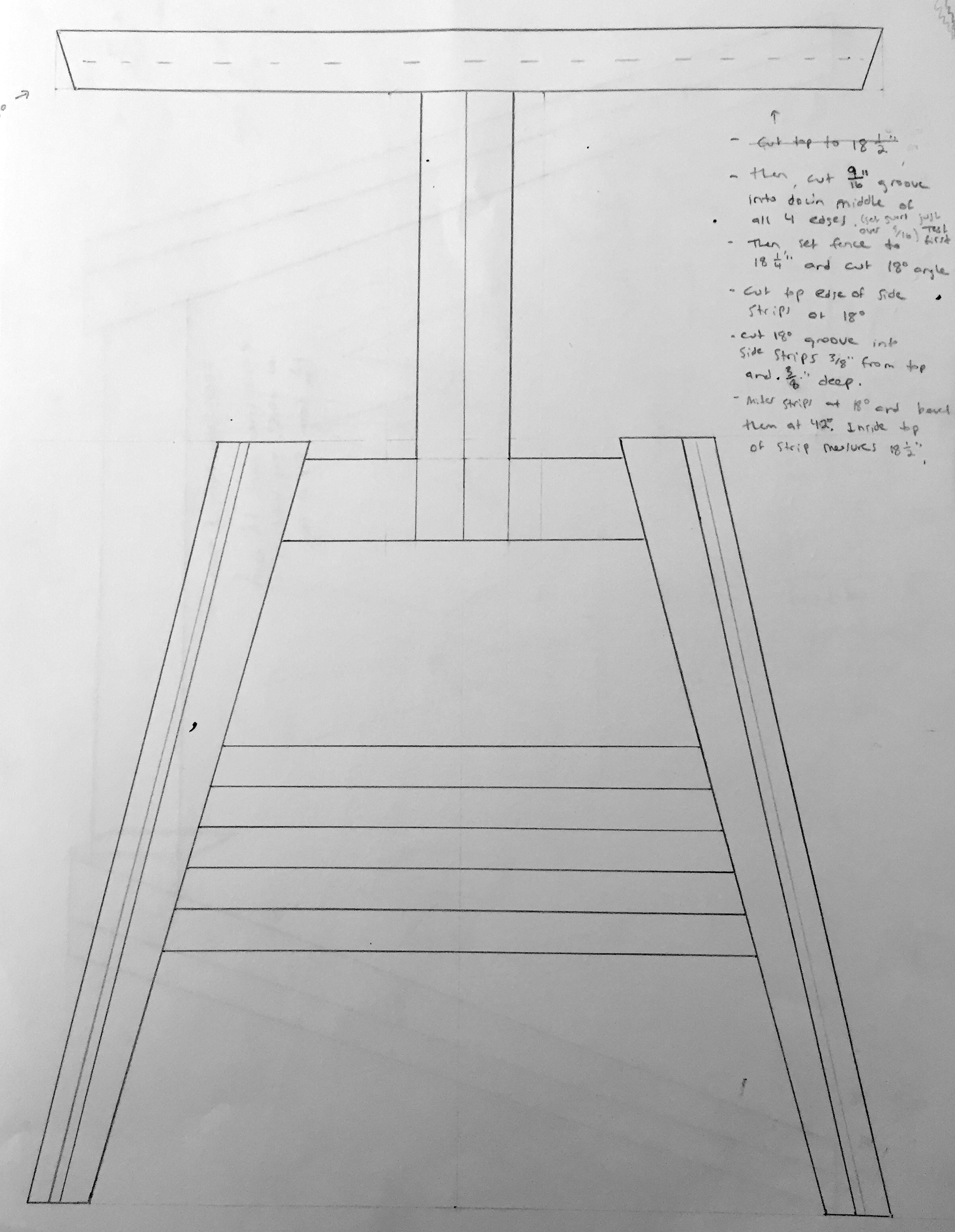 Preliminary drawing for the first version of the end table.