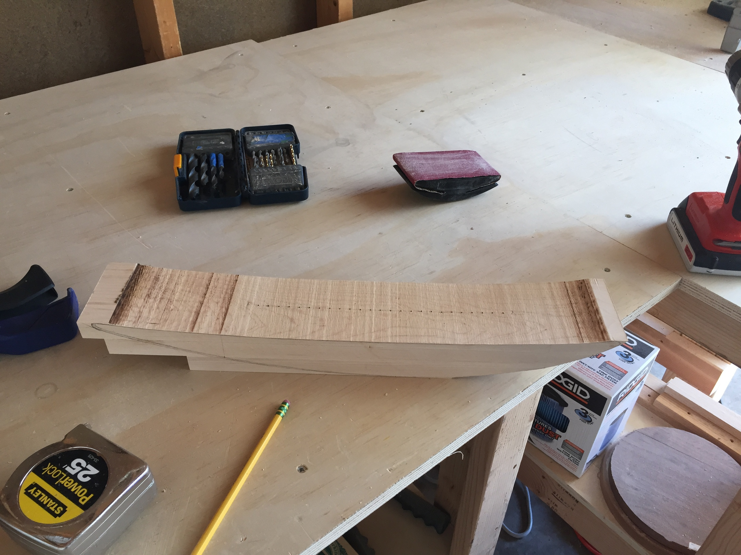 The three birch layers. Here I have already started shaping them with the band saw. The top two layers are glued together. The bottom is pegged in place with wood dowels.