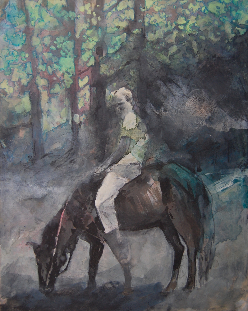 Rider  Oil and mixed media on canvas