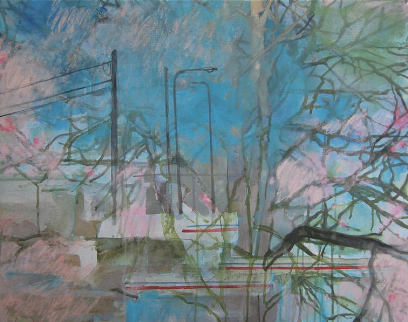 Office Window , Oil and mixed media on canvas