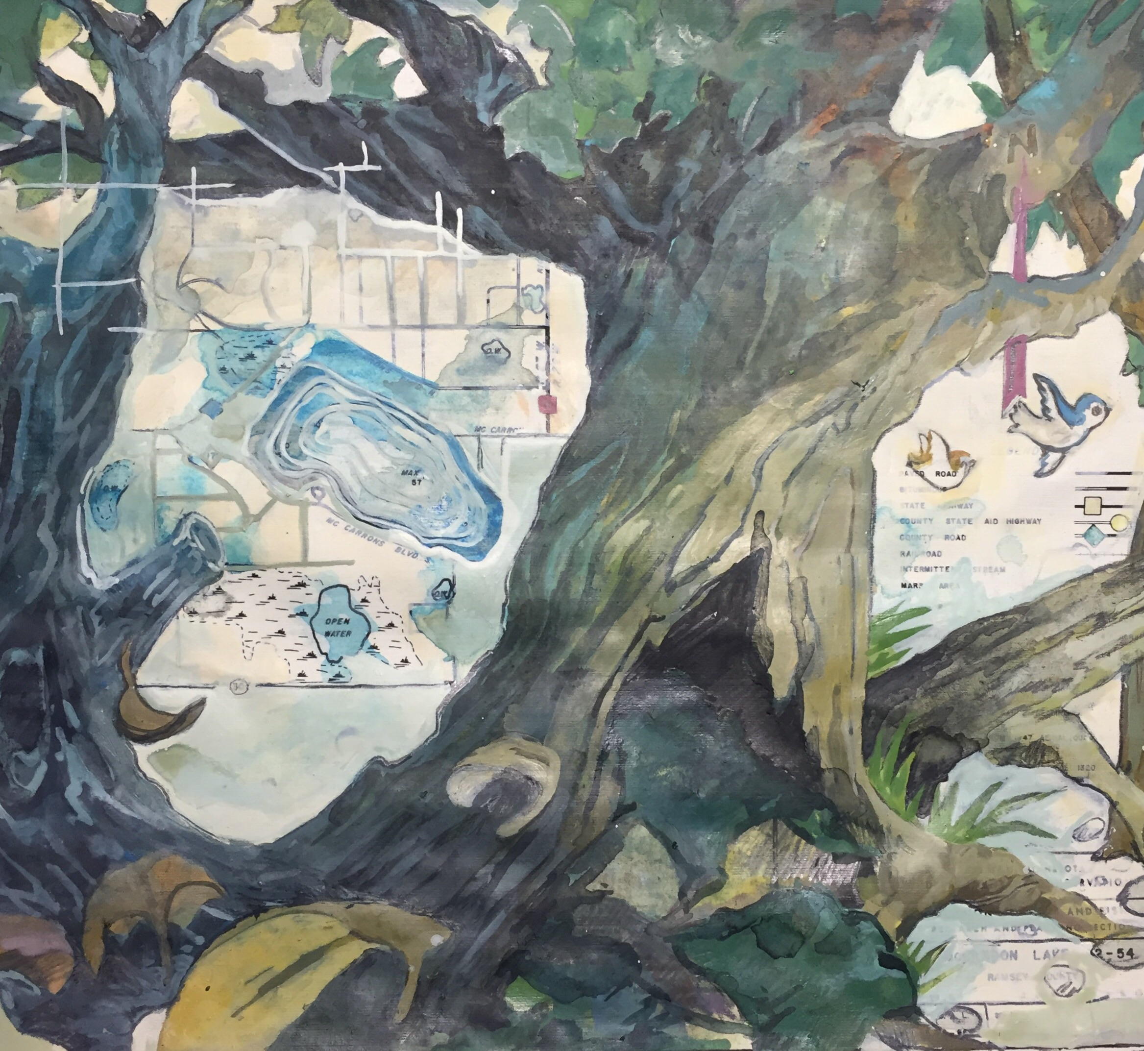 McCarrons  Mixed media on map with gesso