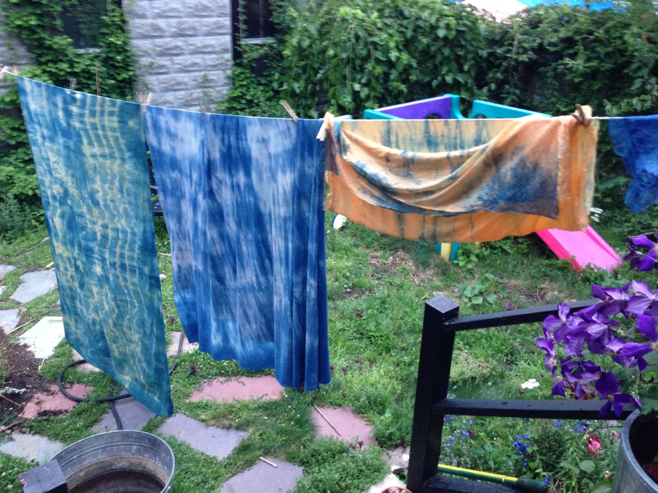 Coreopsis and Indigo dyed fiber