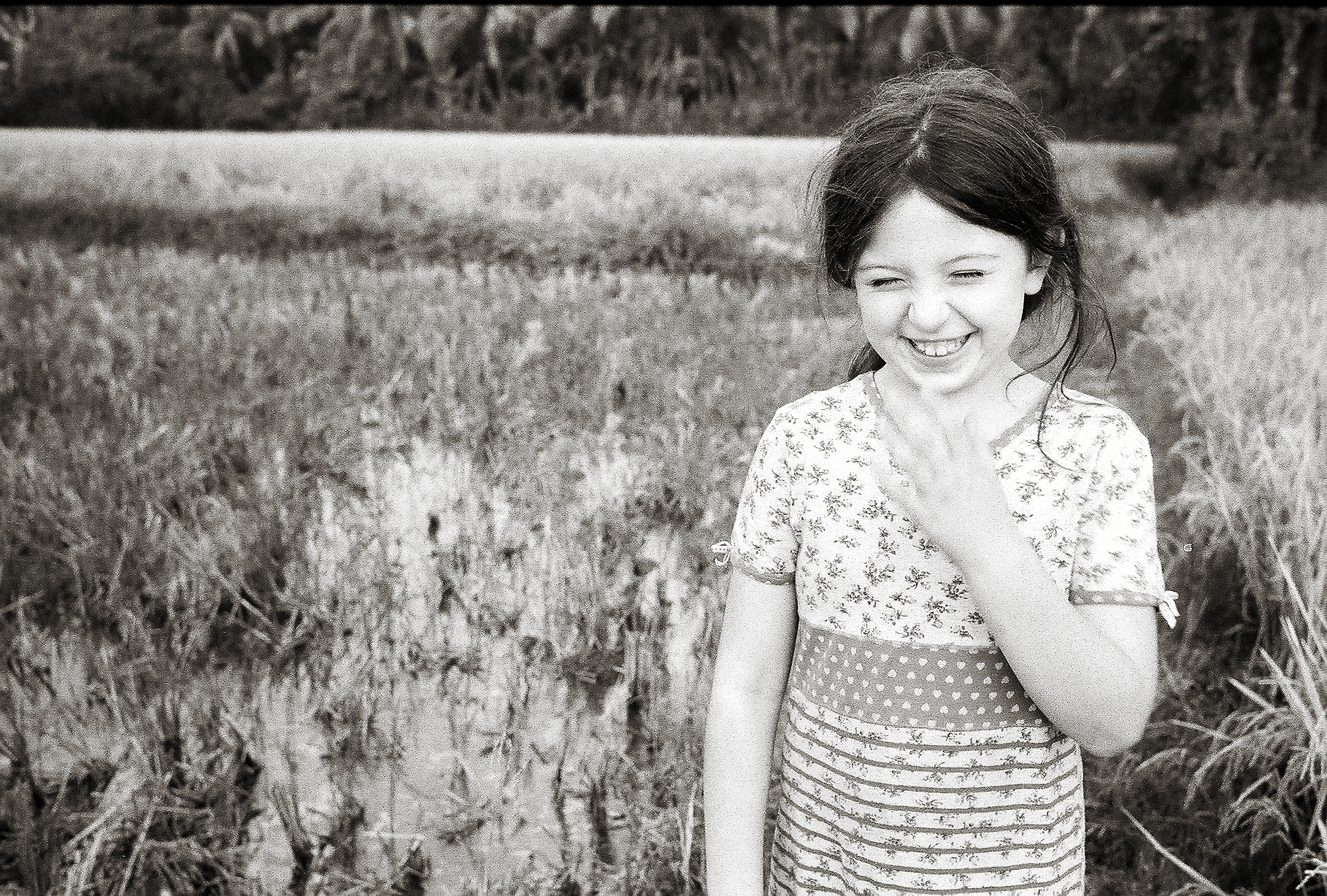 Addie in Kerala rice paddy 35mm