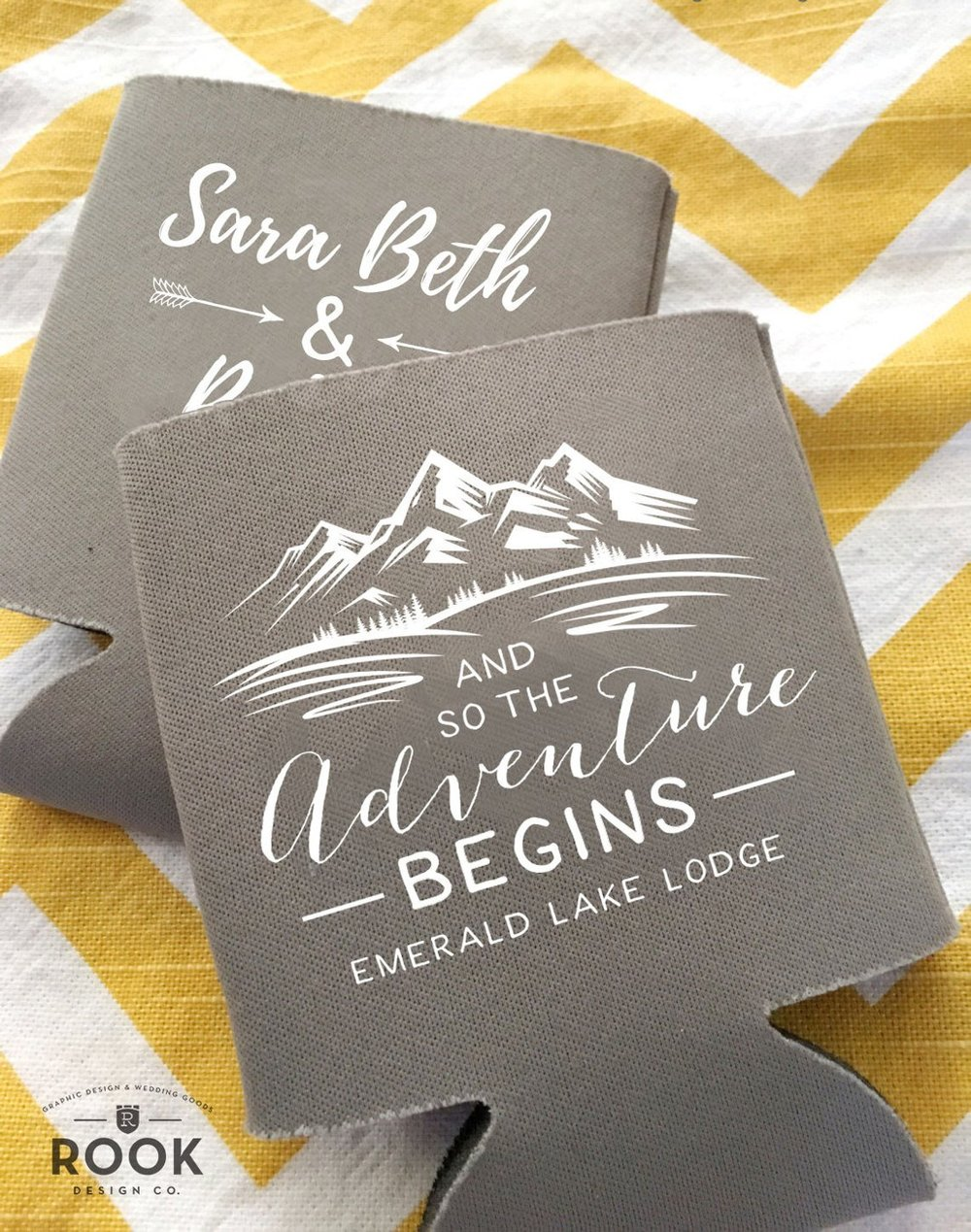 Mountain Wedding The Adventure Begins Personalized Can Cooler Beer Hugger Rustic Wedding Favor Rehearsal Dinner Custom Beer Can Holder