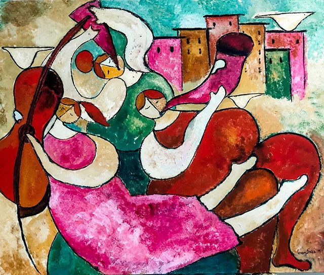 My little orchestra, 30x40 inches, Acrylic on Canvas, 2019, Gizem Saka #colorfulart #joyfulart #liftmeup #happiness . Gecen hafta ana okulu cocuklarina yaptigim tabloyu bu hafta icinde ancak bitirebildim. Ortaya neseli bir orkestra cikti. 90x120 cm, tuval uzerine akrilik, 2019.  #neselitablo #mutlusanat #mutlulugunresmi #abidindino #benyaptim cunku #ege icindi. #cagdassanat #cocukodasi ya da bir okulun #baskosesi icin. Her eve bir orijinal tablo gerekmez mi? (Aura'cilar var mi aramizda? #benjamin)