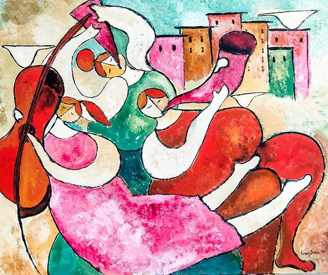 """#MutluSanat diye bir sey vardir (sanat ve naiflik konularinda alayci olamiyorum) ve tabii ki mutlu olabilmek de bir sanattir. Gecen hafta cocuklar icin yapmaya basladigim tablo Neseli bir Orkestra'ya donustu. 90x120 cm, Tuval uzerine akrilik, 2019, Gizem Saka. Yegenim beni okuluna ziyaretci ressam olarak davet etmisti. Tabloyu bir gunde bitiremedigim icin ertesi hafta tekrar calistim. Bu Sefer ogretmenleri calisma oda I was kapisini acik biraktilar ve cocuklar da arada sirada gelip tablodaki ilerlemeyi gorduler. Resimle ilgili onlarca diyebilecegim sorular sordular 😊 ve surekli """"Unlu bir ressam misiniz?"""" diye sordular 😊 Videolarda arkada gelen cocuk sesleri onlarin . #neselitablo #cagdassanat #renkliresimler . There is a possibility that art could be joyful, and surely living joyfully is itself a form of art. I started this piece last week at my nephew's kindergarten class - I was the artist in residence for the day. Which then became a week. I set up in their meeting space and the kids came and went as the painting progressed. It's their voices you're hearing in the background. They asked me several questions about painting and about me as a painter (was I famous?) This was a pleasure. #turkishpainter #nocynicism #colorfulart #istanbulartist #philadelphiaartist #originalart"""