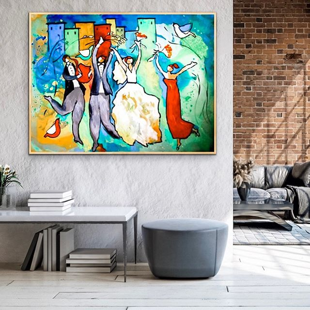 Dugun Dansi, 120x150 cm , Tuval uzerine akrilik. #dugunhediyesi  Wedding Dance, 48x60 inched, Acrylic on Canvas. A wedding gift. @artroomsapp #artroomsapp #weddinggift #originalart #artcollection #affordableart (For some reason Instagram deletes my posts and I find it cumbersome to rewrite the caption)