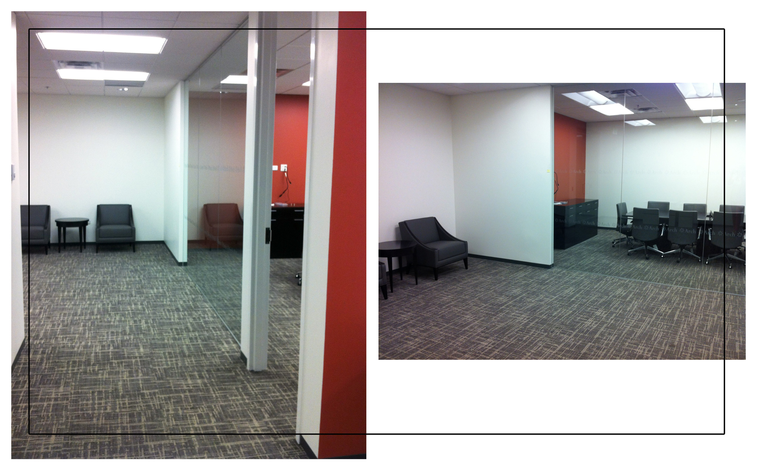 Reception and conference room views. Photograph