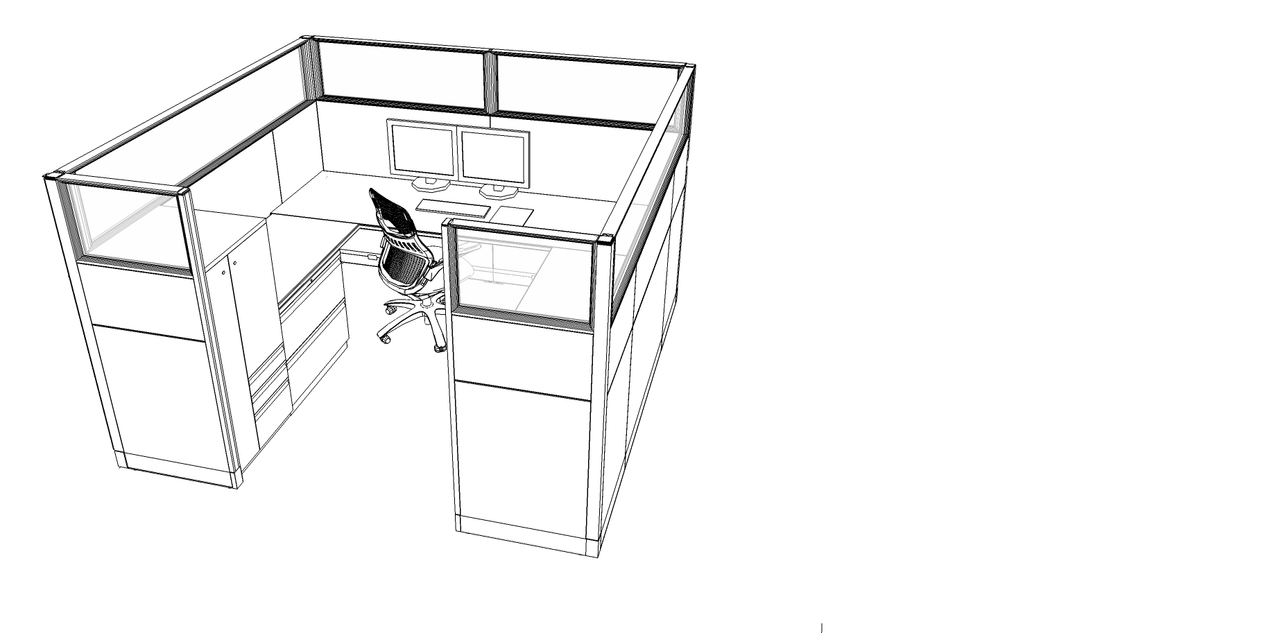 Standard cubicle layout throughout the floor