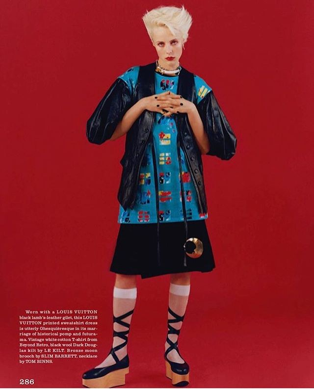 @the_gentlewoman ❤️ Edie in the classic 01 black Le Kilt  by Oliver Hadlee Pearce and Fran Burns.  @ediebcampbell @franburns @oliverhadleepearch