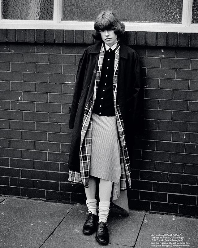 @reeditionmag  Edwina in Le Kilt classic cashmere cardigan.  By Alasdair McLellan and Alice Goddard  @alasdairmclellan @_alicegoddard  @edwinapreston