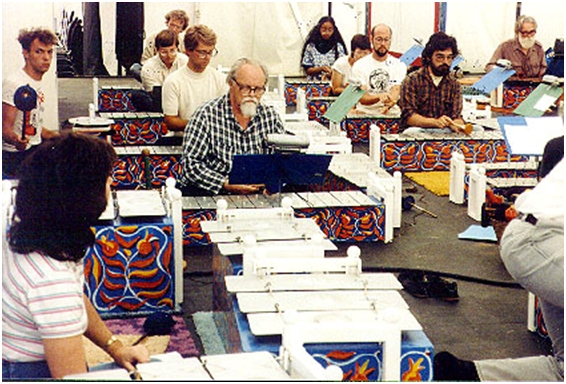 Gamelan Si Betty and Lou in plaid in rehearsal for a Cabrillo Festival concert, 1978. Photo by Jody Diamond, Director of the American Gamelan Institute.