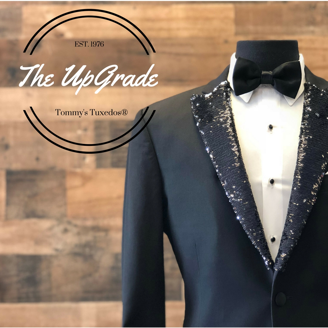 UpGrade Me  - Add a little bling to any Peak Lapel tuxedo for prom with our custom-made black sequin lapel or black suede for a statement look.Yeah, we know, we rock.
