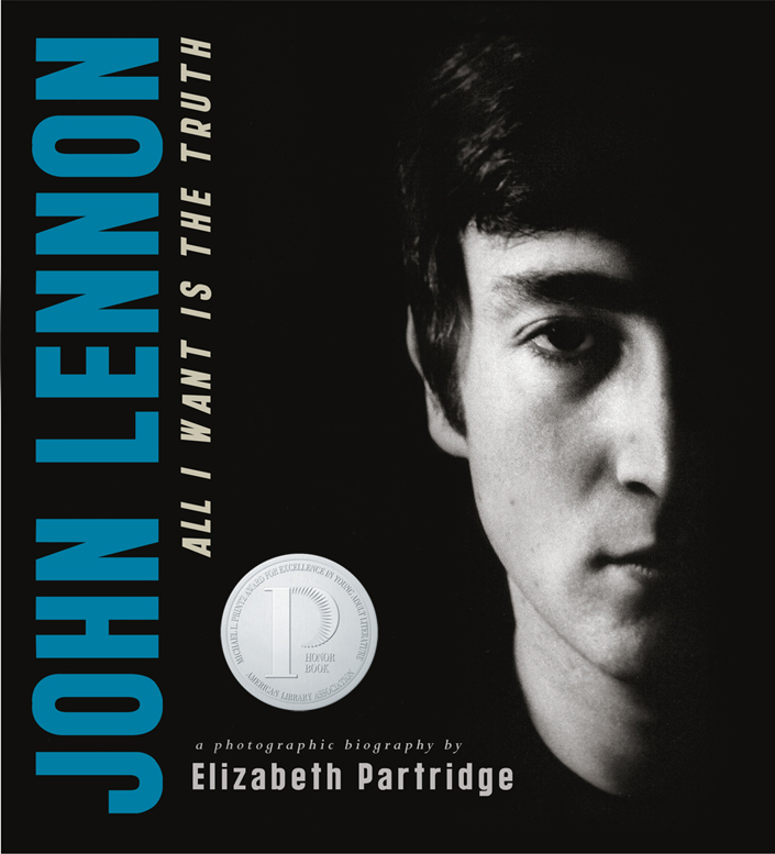 John Lennon: All I Want is the Truth - Award-winning biographer Elizabeth Partridge dives into Lennon's life from the night he was born in 1940 during a World War II air raid on Liverpool, deftly taking us through his turbulent childhood and his rebellious rock'n'roll teens to his celebrated life writing, recording, and performing music with the Beatles.Partridge sheds light on the years after the Beatles, with Yoko Ono, as he struggled to make sense of his own artistic life—one that had turned from youthful angst to suffocating fame in almost a split second.Partridge chronicles the emotional highs and paralyzing lows Lennon transformed into brilliant, evocative songs. With striking black-and white photographs spanning his entire life, John Lennon: All I Want Is the Truth is the unforgettable story of one of rock's biggest legends.Viking Books for Young Readers 2005