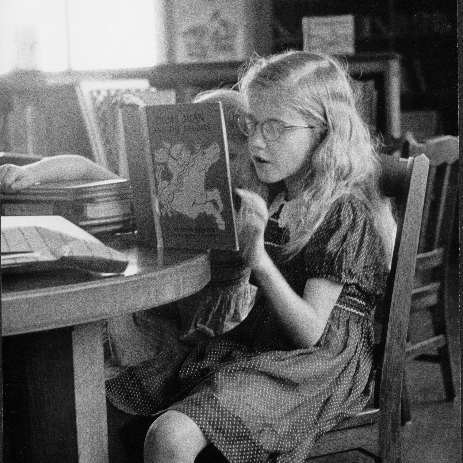 Elizabeth Partridge at the Berkeley Public Library, age 9