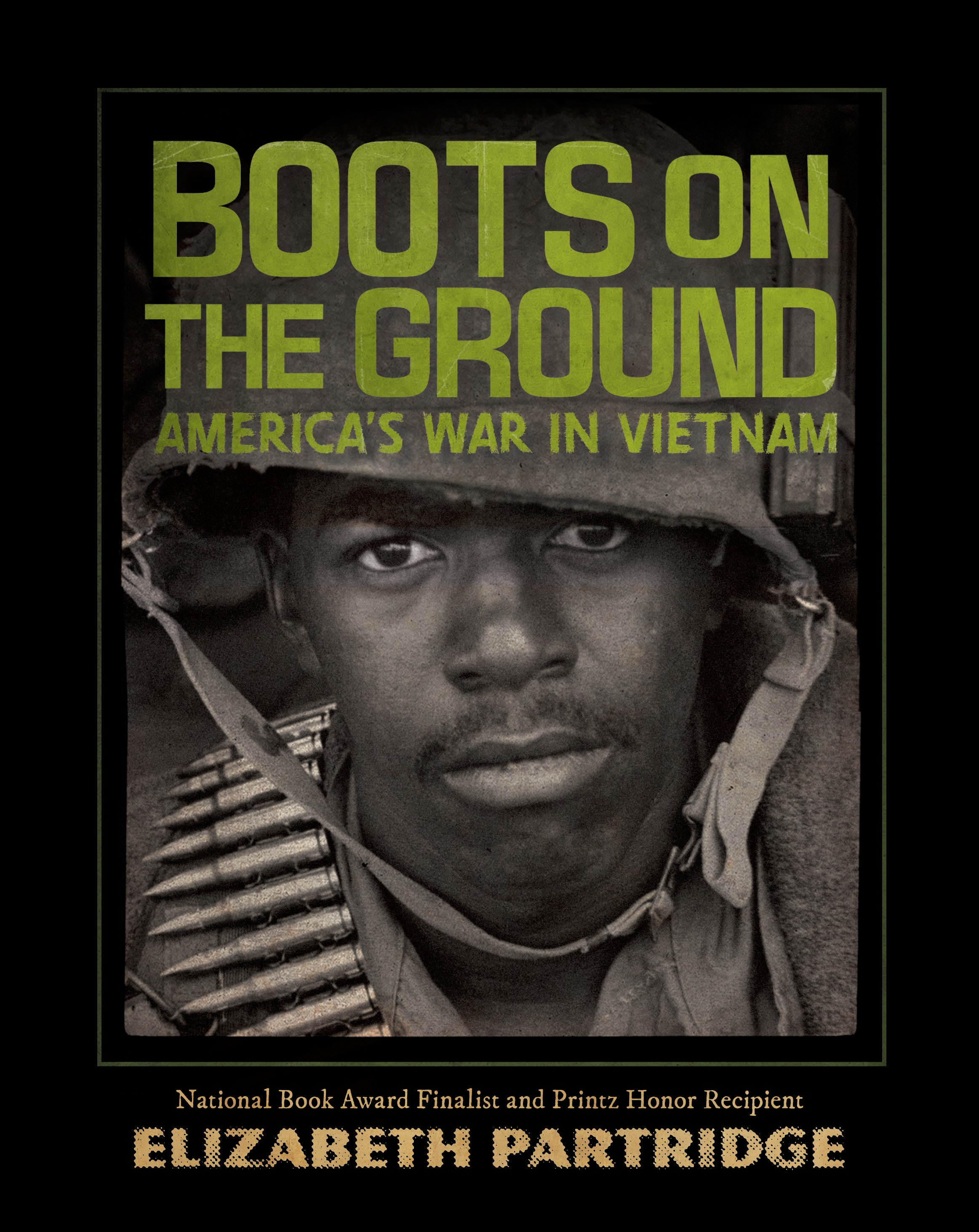The War - The American men sent to Vietnam to fight. The women who cared for their broken bodies. The protestors at home, and the politicians who sent the next young men to Vietnam. The Vietnamese who fled.The Vietnam War directly involved four U.S. presidents and cut short the lives of nearly 60,000 American soldiers during more than a decade of fighting. It polarized and divided our country in ways that still have not healed.The history of this era is complex; the cultural impact extraordinary. But it's the personal stories of eight people—six American soldiers, one American nurse, and one Vietnamese refugee—that create the heartbeat of Boots on the Ground. From dense jungles and terrifying firefights to chaotic medic rescues and evacuations, each individual experience reveals a different facet of the war and moves us forward in time. Alternating with these chapters are profiles of key American leaders and events, reminding us of all that was happening at home, from Kent State to Woodstock to Watergate.Viking Young Readers 2018ShelfTalkerElizabeth Partridge uses the voices of presidents, infantrymen, nurses, protestors and others to bring readers an approachable and captivating history of the Vietnam War.