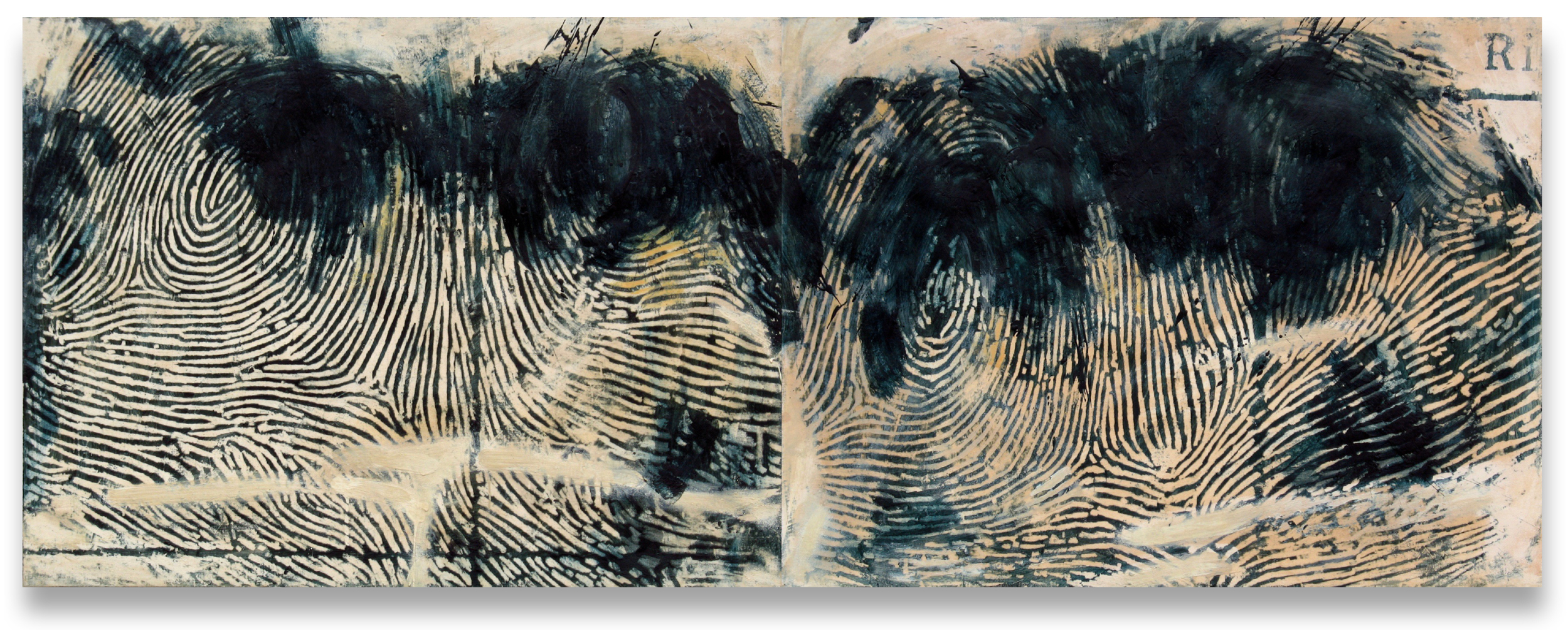 "Span, 2001. Encaustic on canvas, two panels, 36"" x 96""."