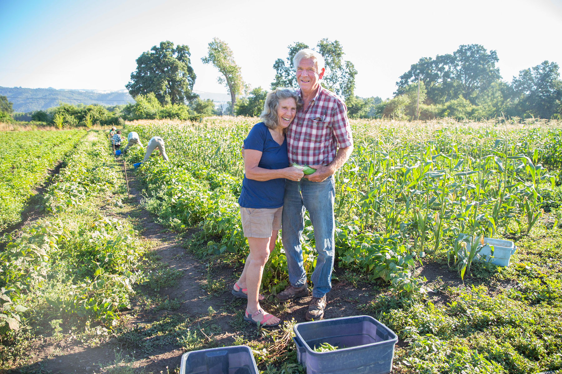 Gloria and Stephen Decater pause during a busy farming day.