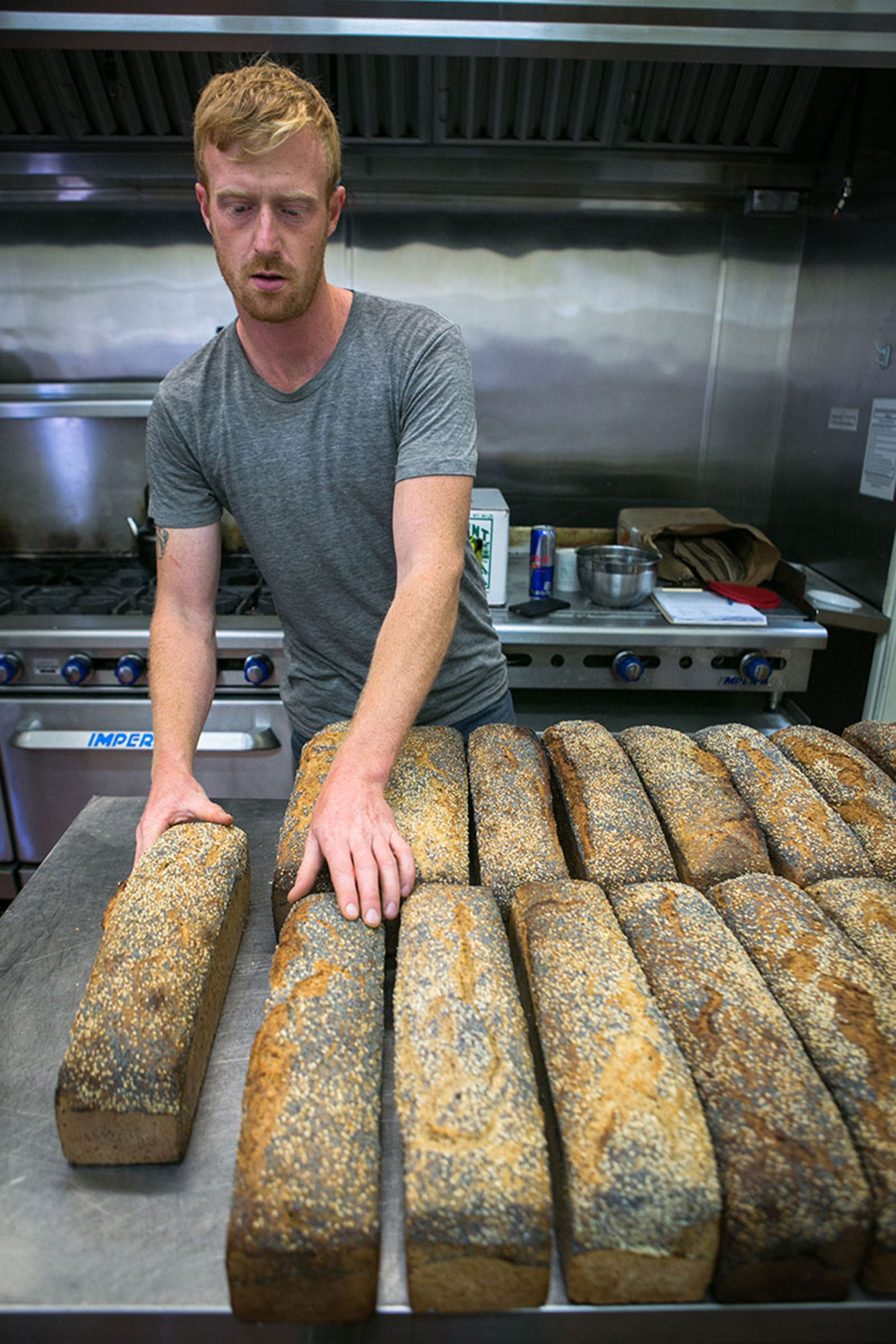 Eliot with the finished baked loaves