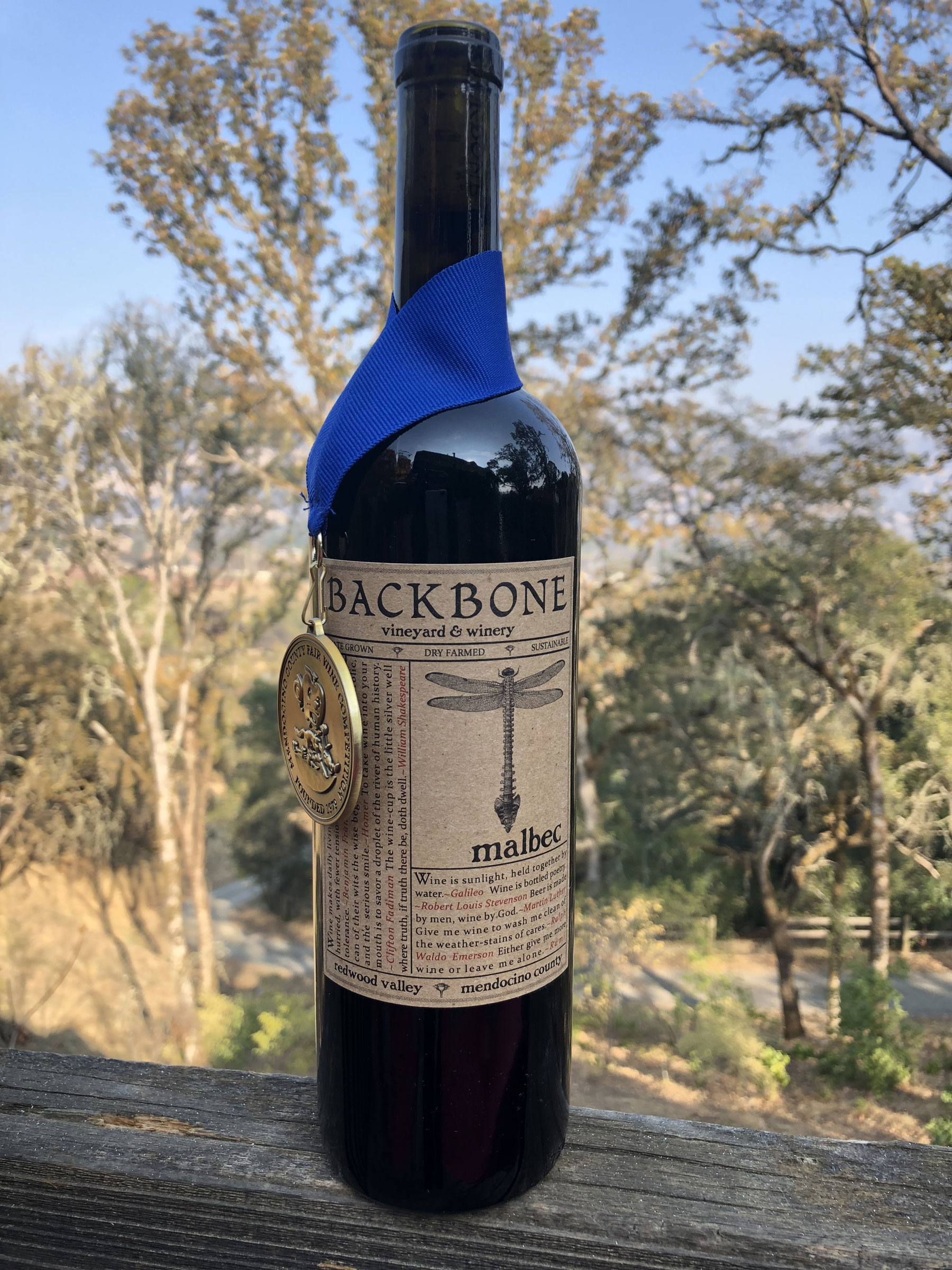 the Backbone Winery Malbec