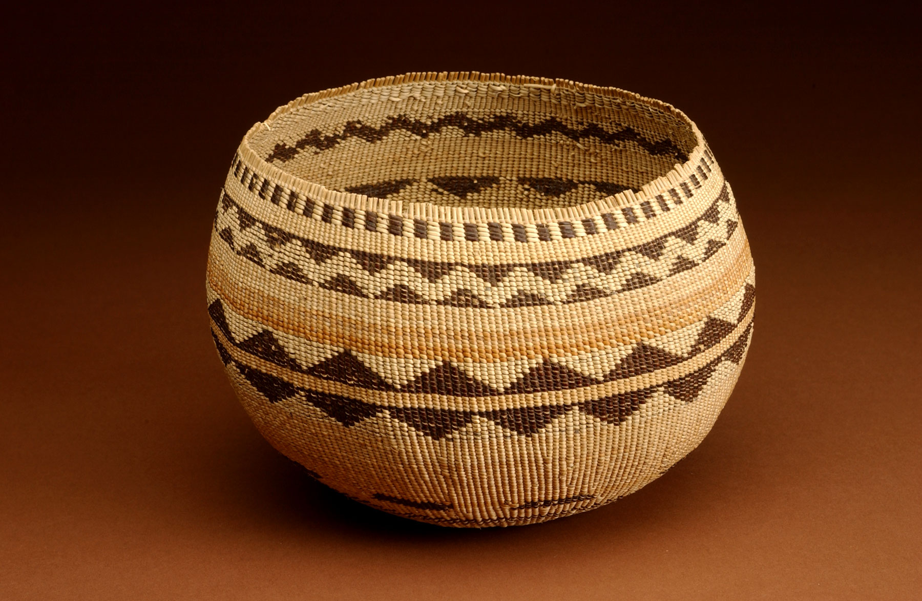 Pomo plain-twined cooking basket in the collection of the Grace Hudson Museum, Ukiah