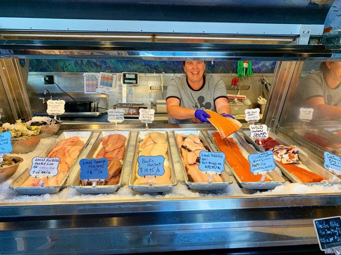 the fish case at Princess Seafood Market & Deli