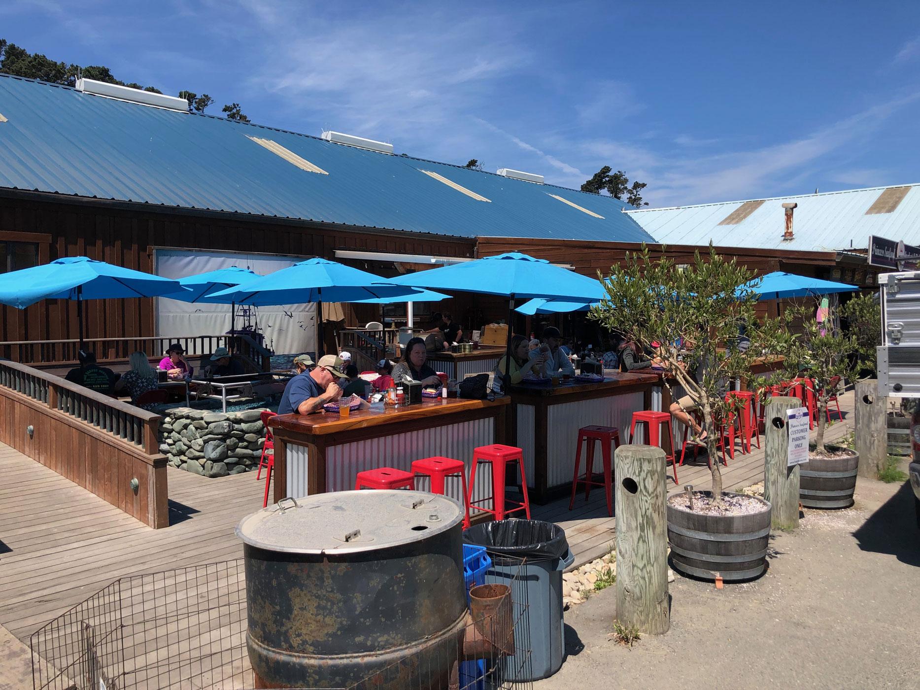 the sunny patio at Princess Seafood Market & Deli