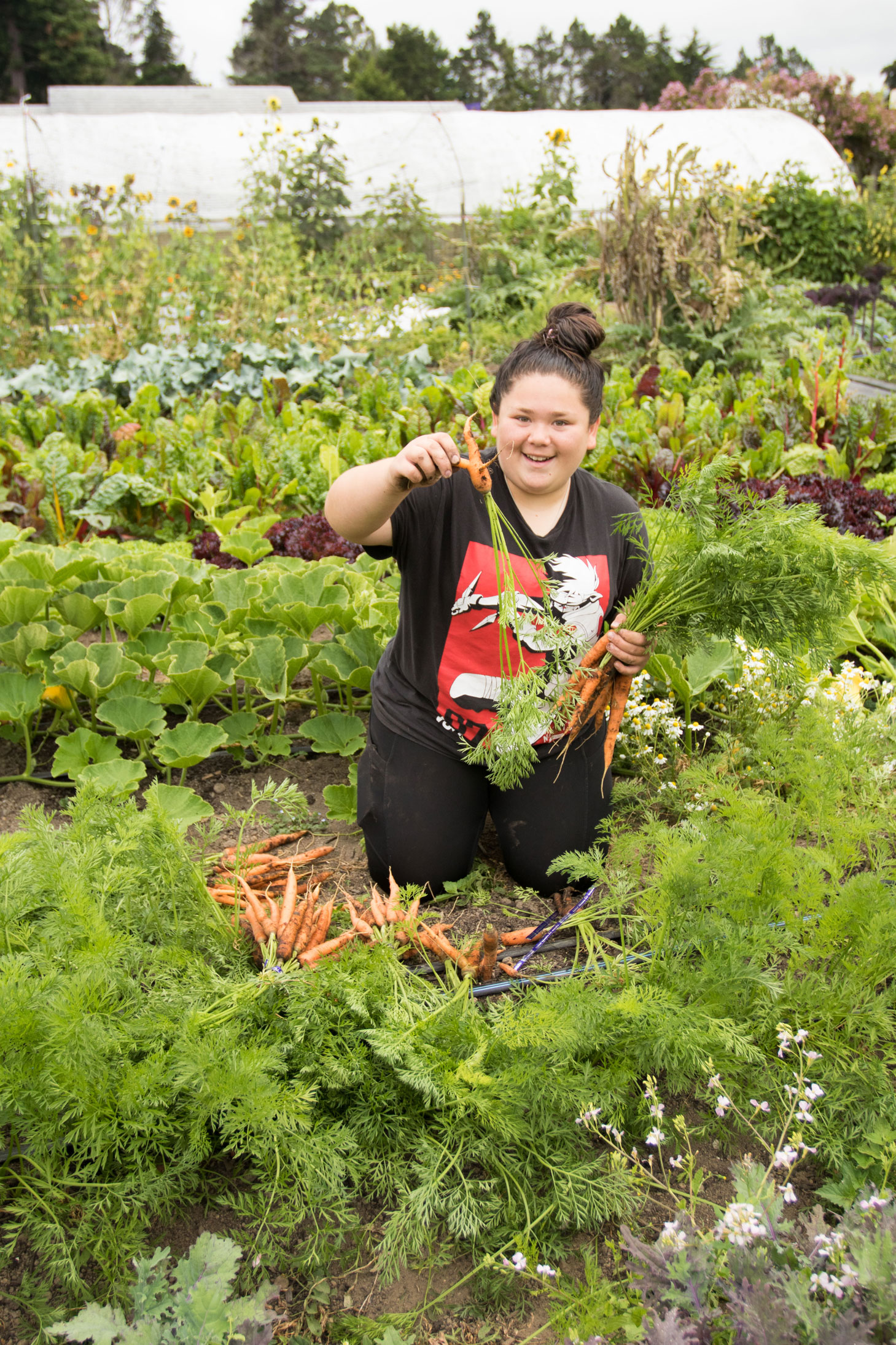 student at Noyo Food Forest