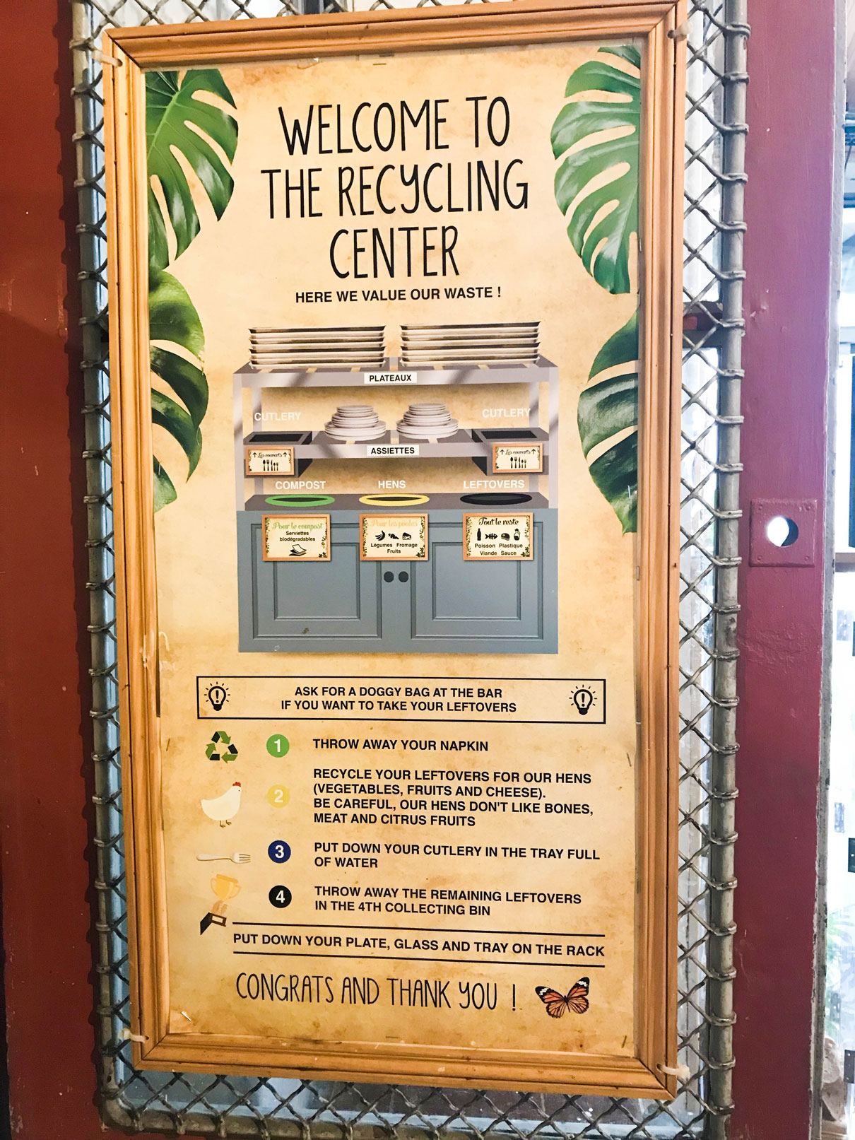 sign explaining composting process at Le REcyclery in Paris