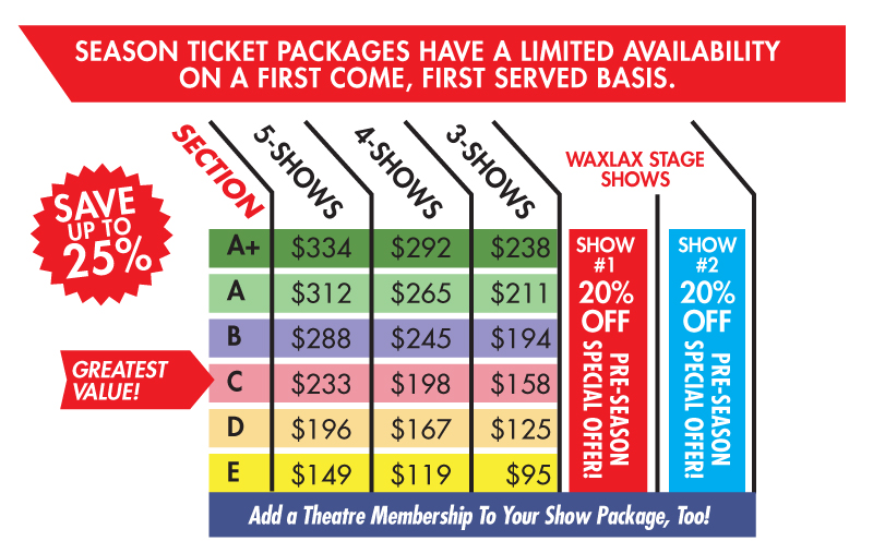 Waxlax Stage pre-season discount pricing is good through June 3, 2019. There is an additional $1.50 processing fee per show ticket for season packages. And $2.00 processing fee per single show ticket purchases. All prices and shows subject to change. Some seats require the use of steps. Call the box office with any questions.