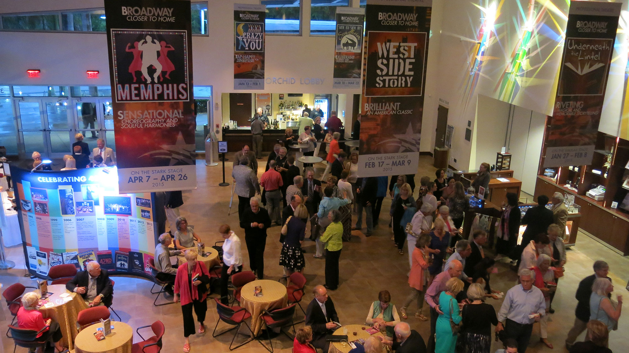 Orchid Lobby Bar & Concessions - Our full bar is open one hour prior to every show and during intermission for most shows... serving cold drinks, domestic and imported beer, premium and top shelf spirits, liqueurs, coffee, special cocktails and a large selection of premium wines. We also offer a variety of chocolates, chips, and other treats.NOTE: Food and beverages are NOT permitted inside the theatre at your seat during musicals, plays, lectures and special events. During Comedy Zone and Howl at the Moon shows, food and beverages ARE allowed and there is table service inside the Theatre.