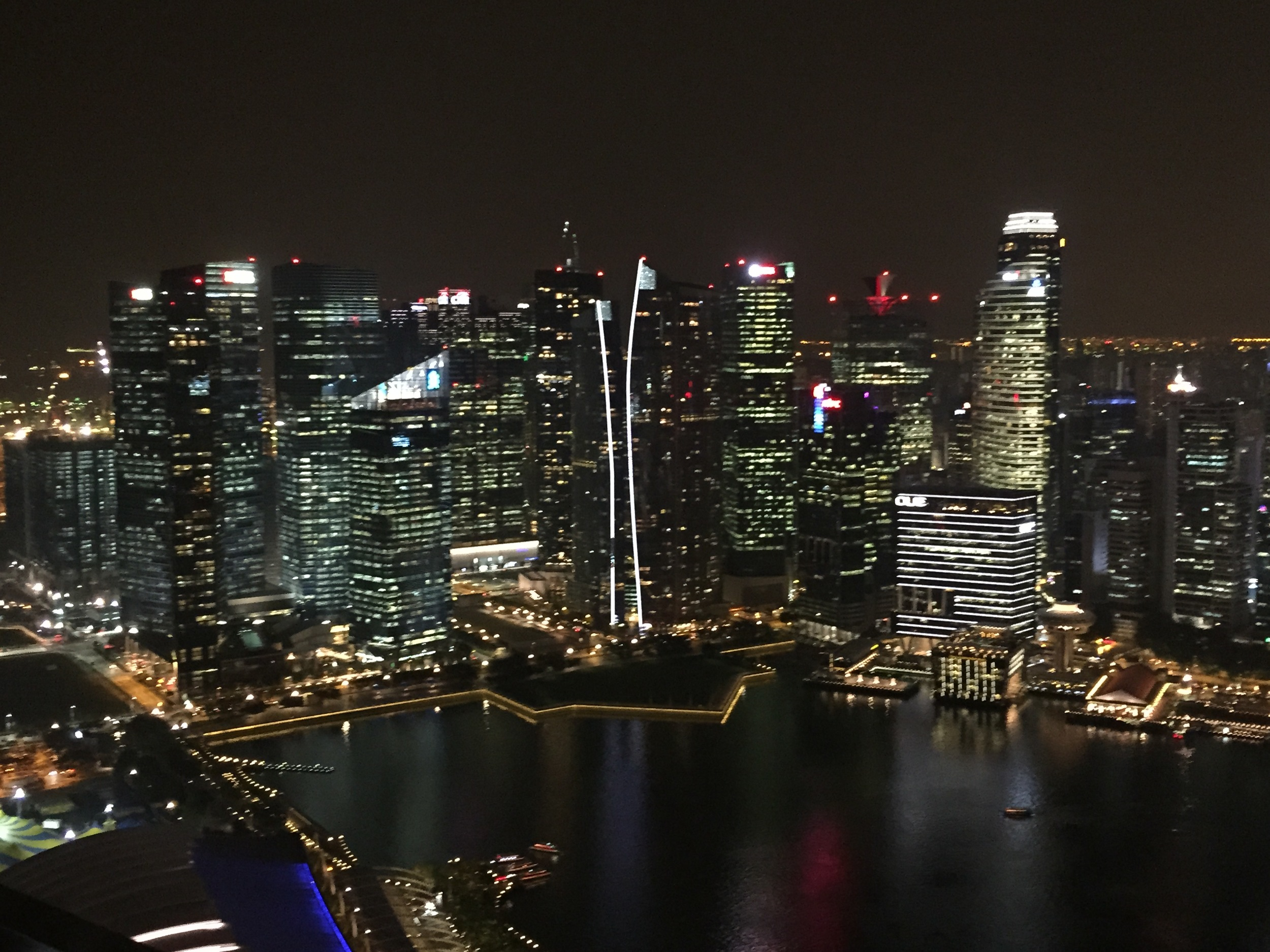 singapore skyline from the top of the marina bay sands resort where we adjourned to celebrate the end of a fabulous event