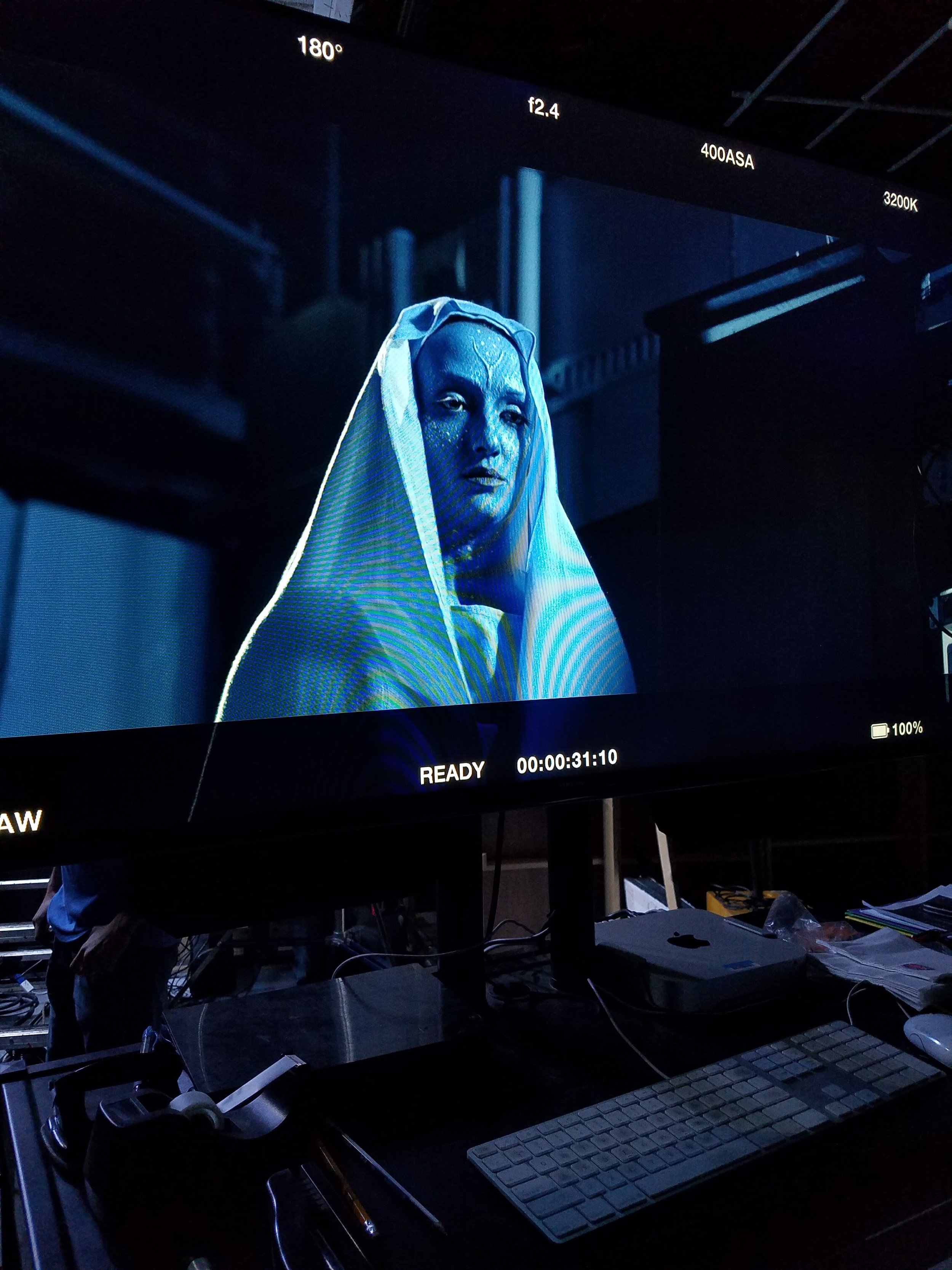 Our Lady the Woman of Neptune captured on screen in Video Village (on set of  Neptune ).