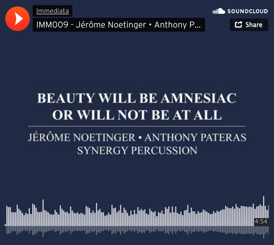 Beauty Will Be Amnesiac Or Will Not Be At All - Performed by Synergy PercussionListen