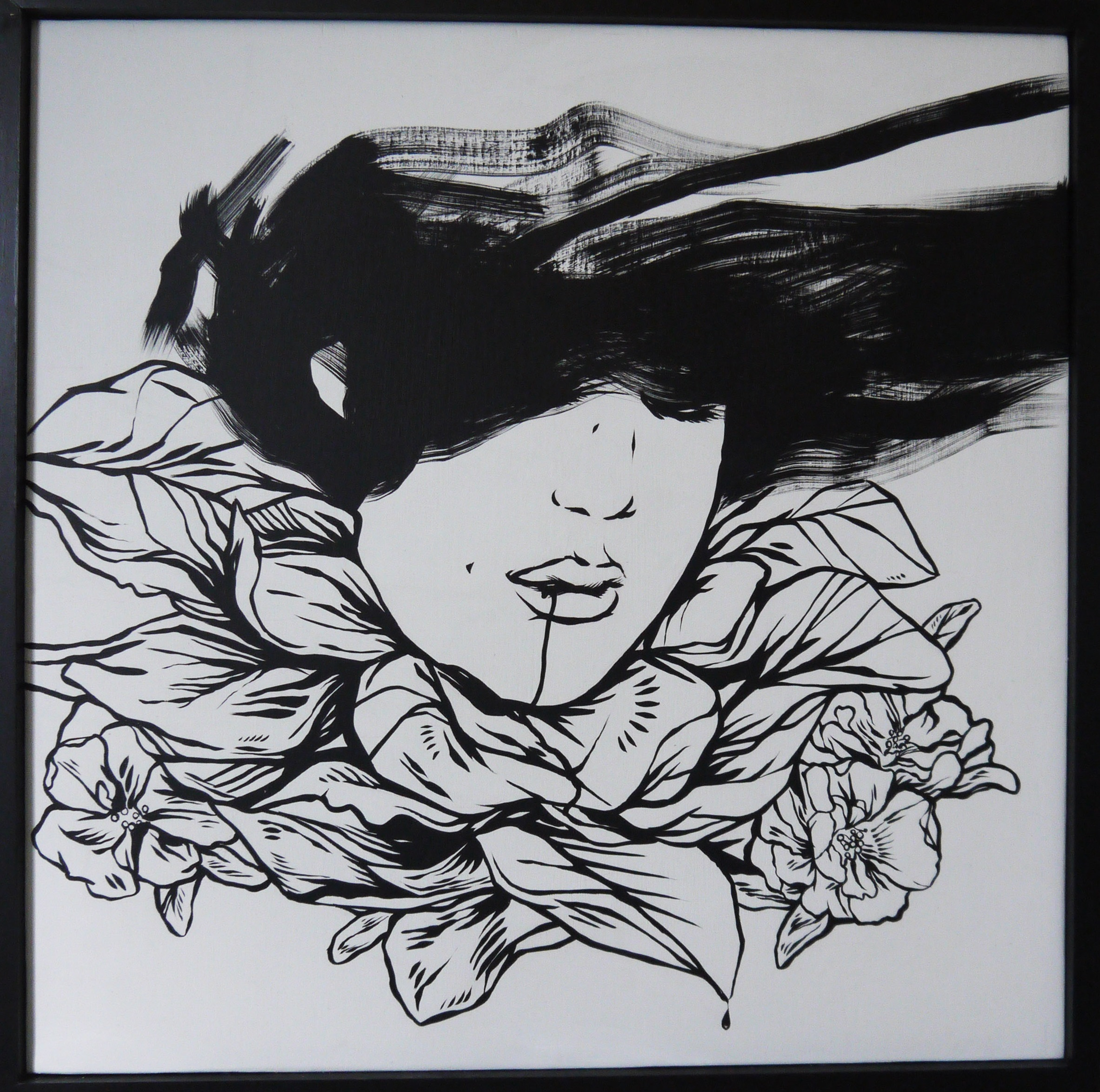 Contagious , 2014 [private collection NJ, USA] Sumi Ink on Wood 24 x 24 in.