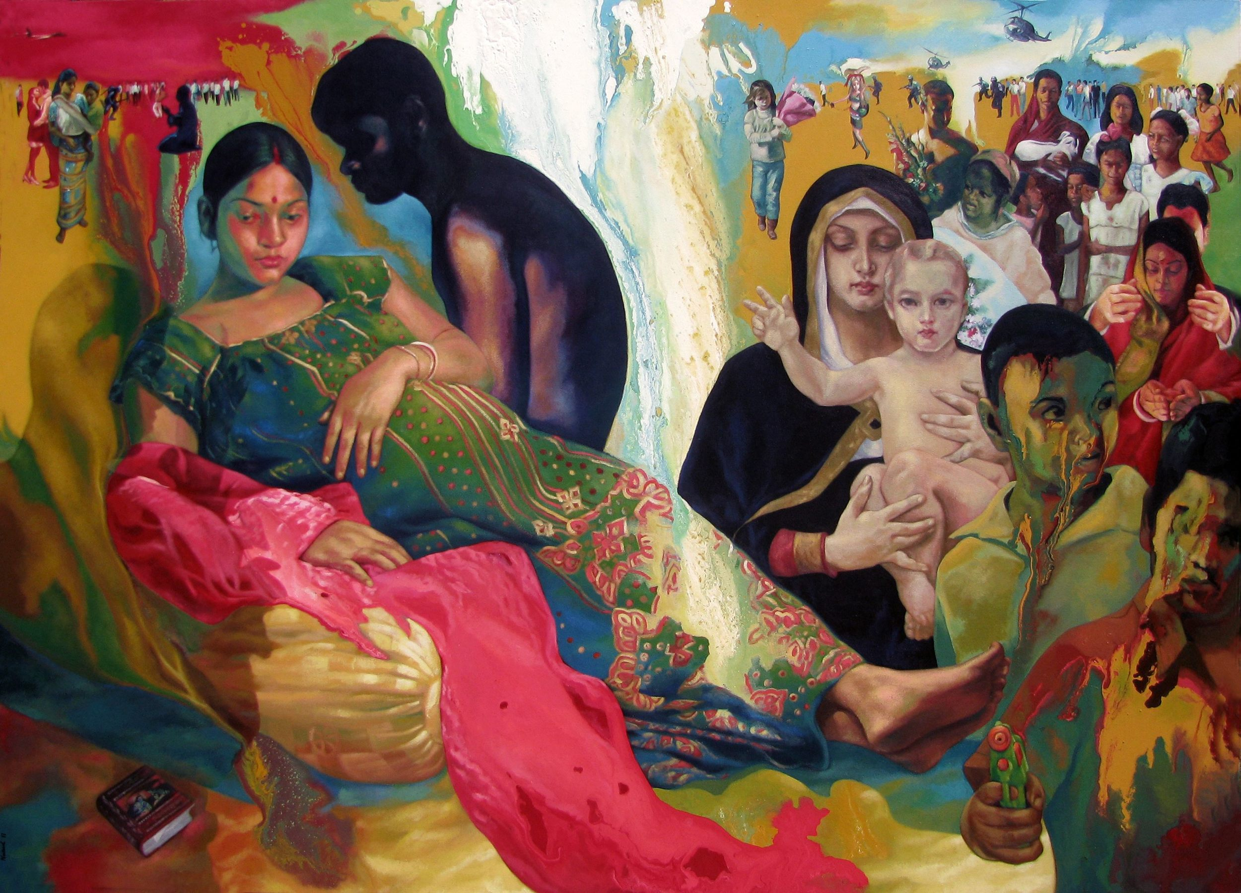 "Anamika - ""We Are Your Well Wishers"" , 2011  Acrylic on Canvas 59 x 82 in."
