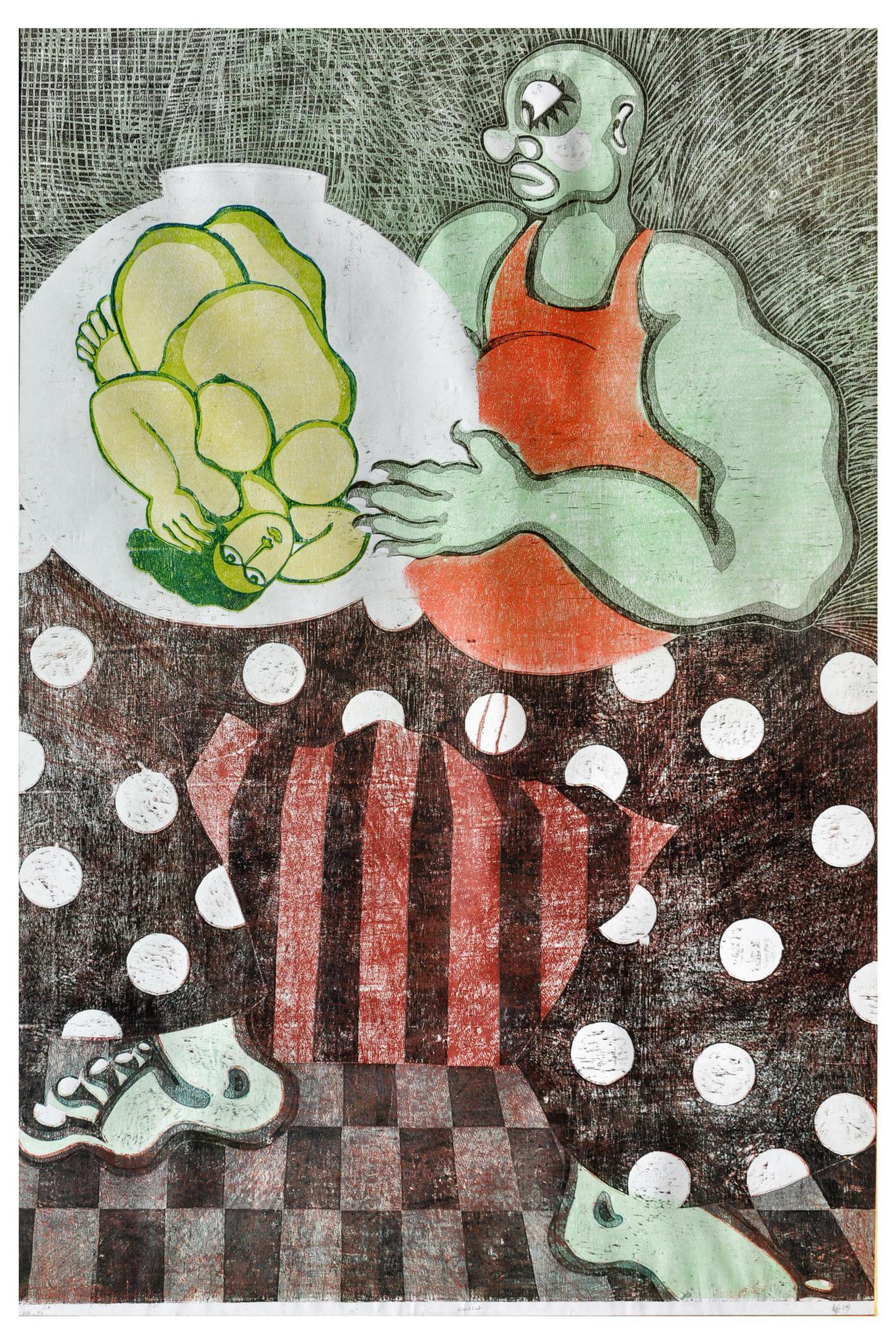 Fantastique  , 2010   Woodcut, Monoprint   48 x 60 in.