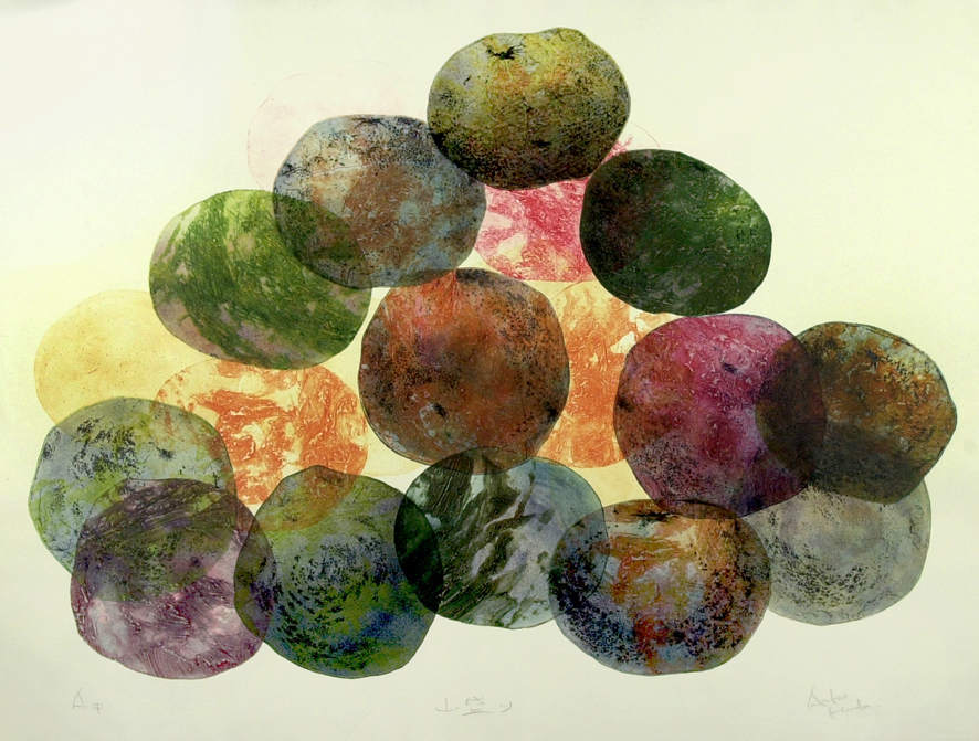 Heap of Oranges,  2006 [private collection NY, NY] Etching and Collagraph, Monoprint 31 x 42 1/2 in.