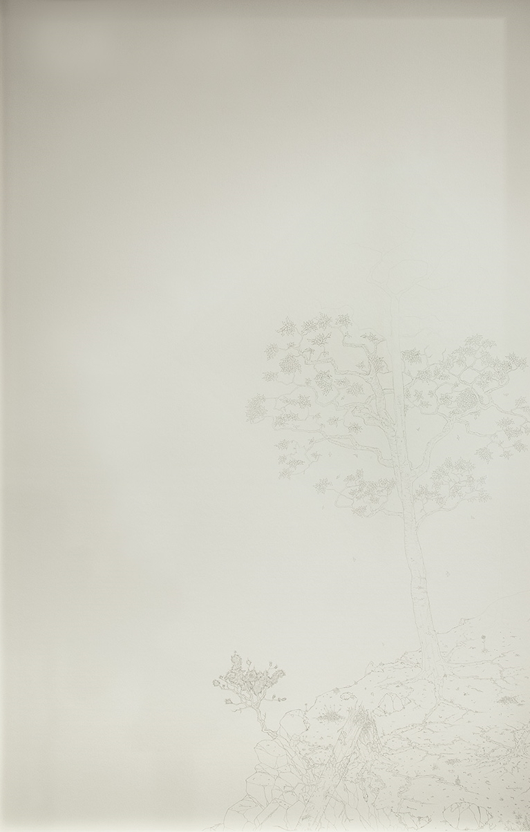 After , 2015   Graphite on Paper   44 5/8 x 25 1/4 in.