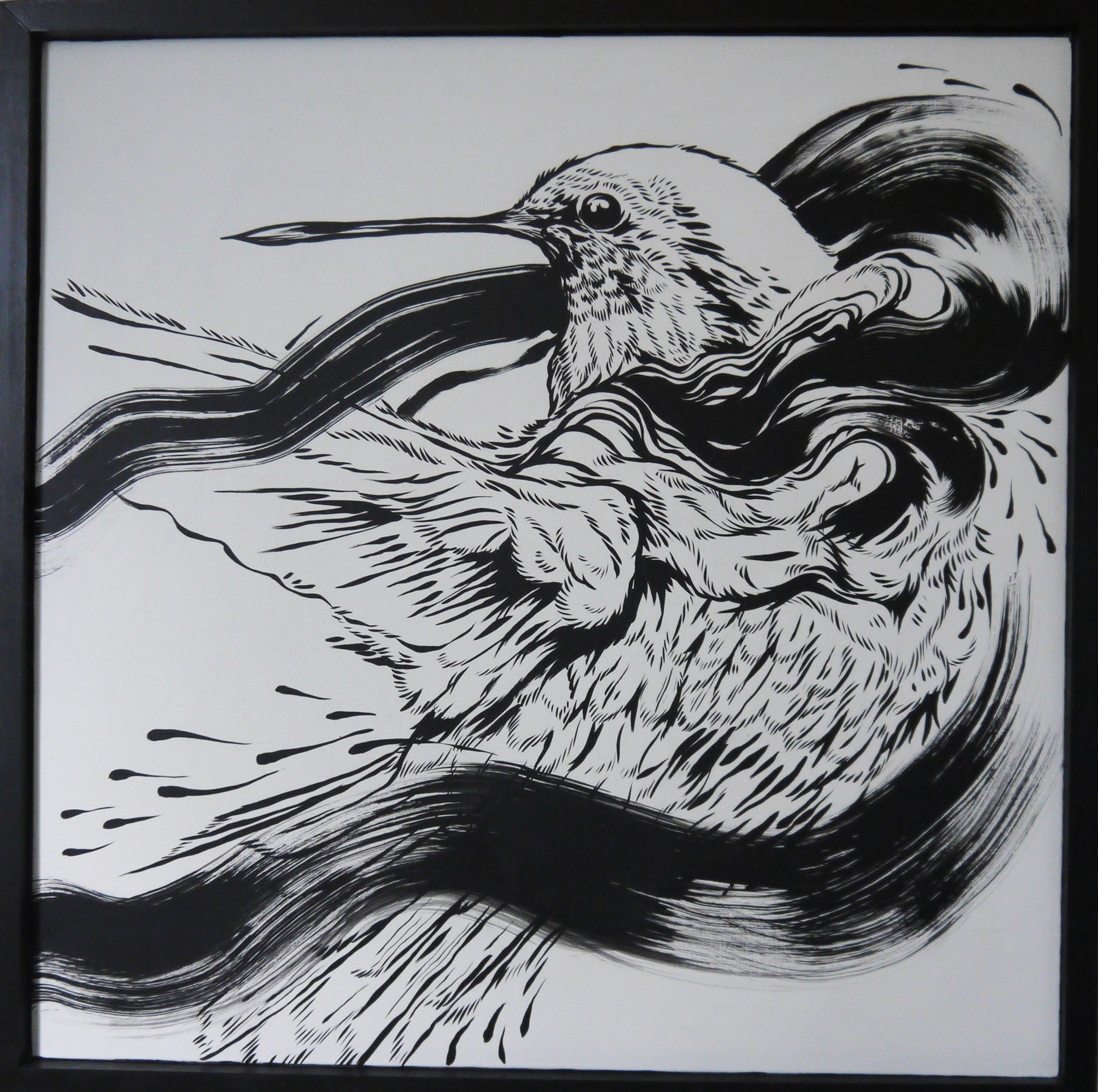 Merciful , 2014 [private collection NY, NY] Sumi Ink on Wood 24 x 24 in.