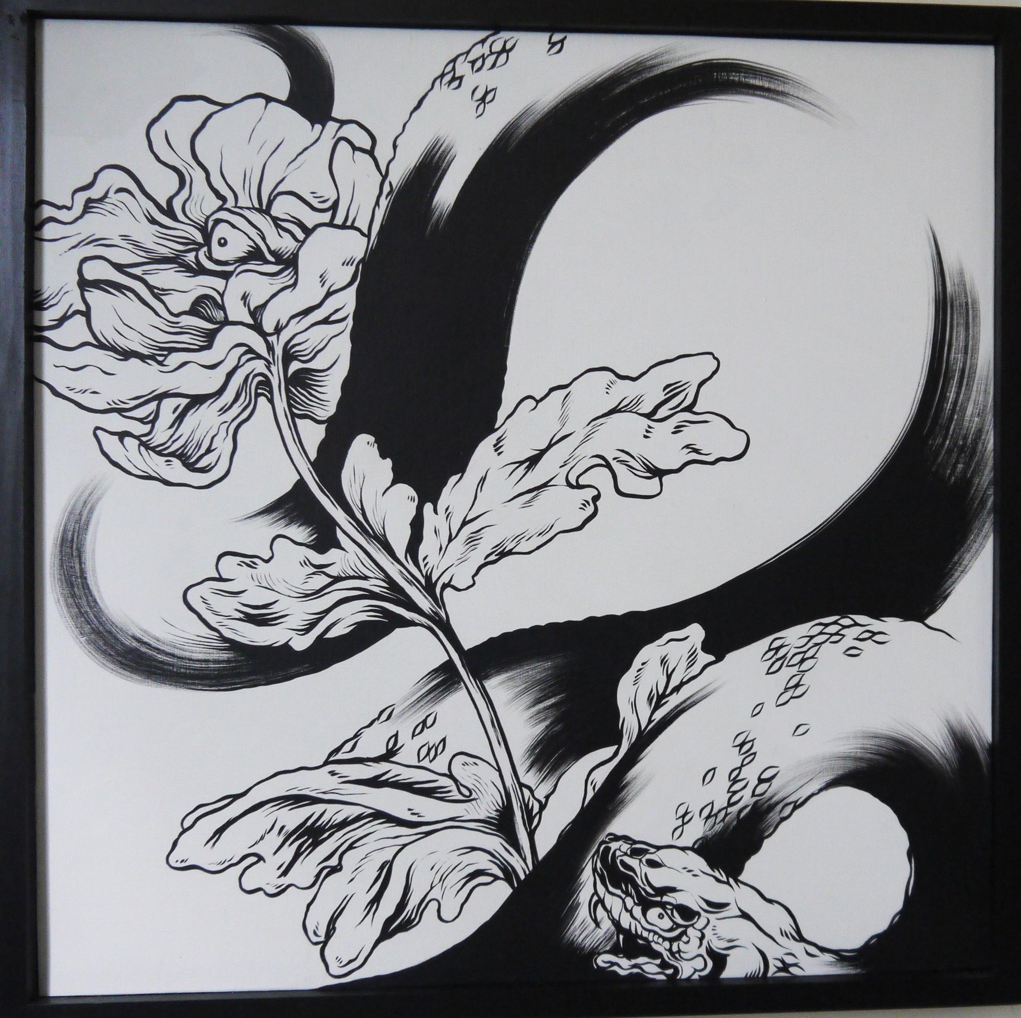 Enlighten , 2014 Sumi Ink on Wood 24 x 24 in.