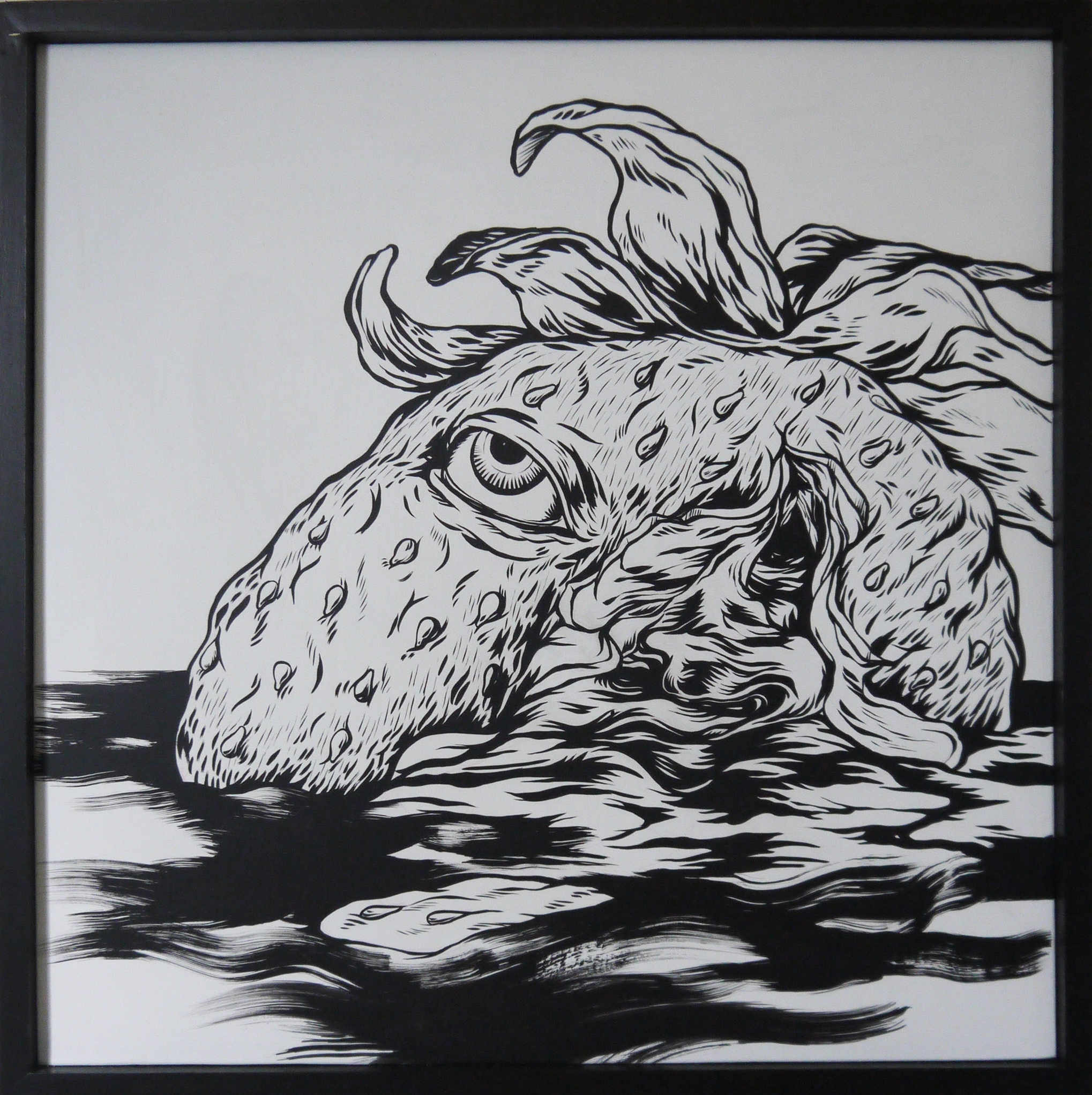 Slayer , 2014 [corporate collection Toronto, Canada] Sumi Ink on Wood 24 x 24 in.
