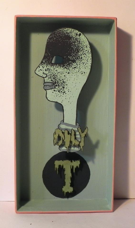 Oily T , 2012   Mixed Media   3 5/8 x 7in.