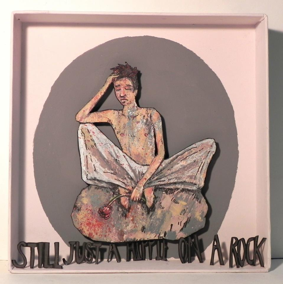 Still Just A Hippie On A Rock  , 2012   [private collection Long Island  , NY]   Mixed Media    6 7/8 x 6 7/8 in