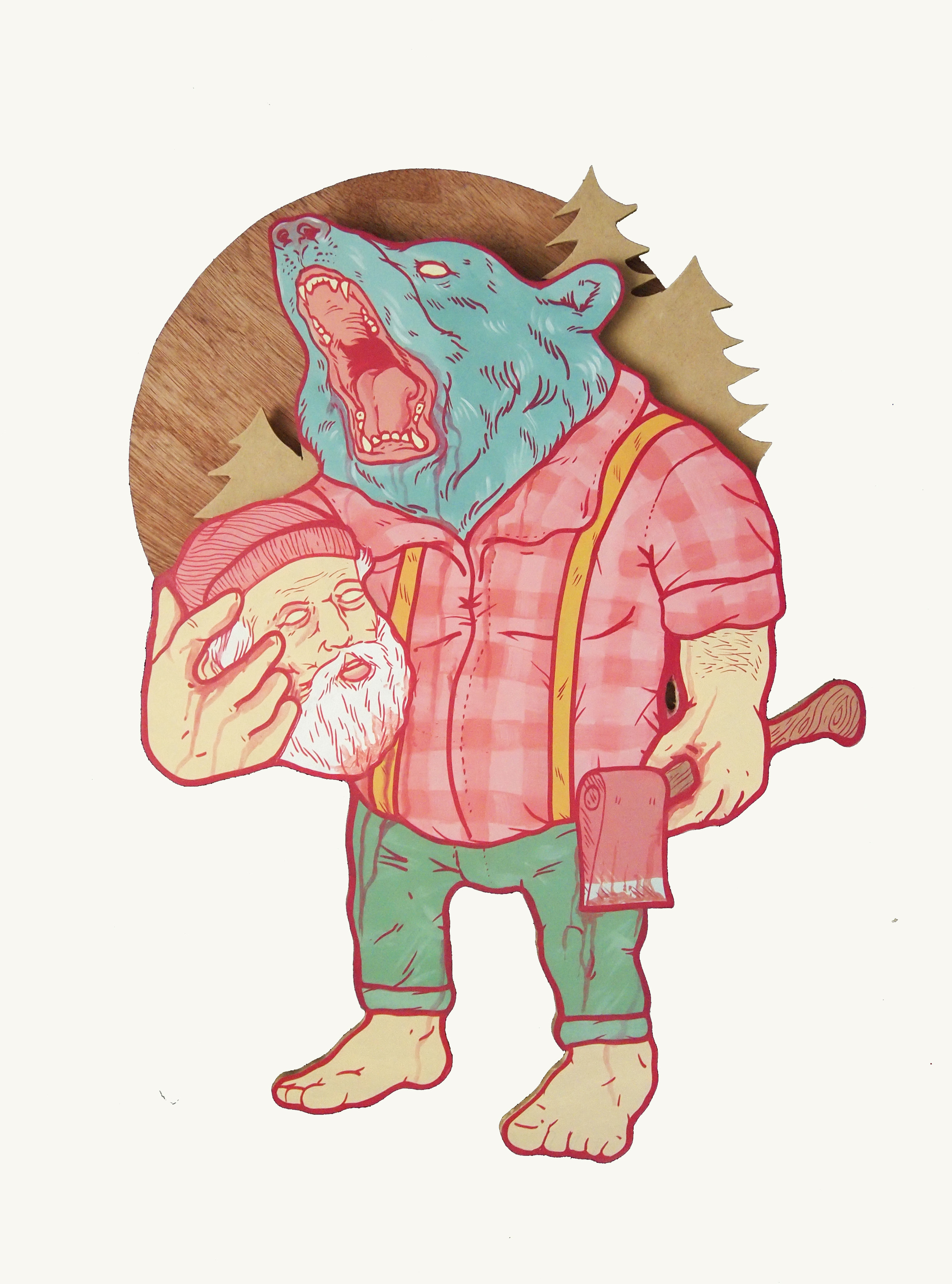 Revenge on Paul Bunyan , 2012 [private collection Brooklyn, NY] Acrylic on Wood 24 x 18 in.